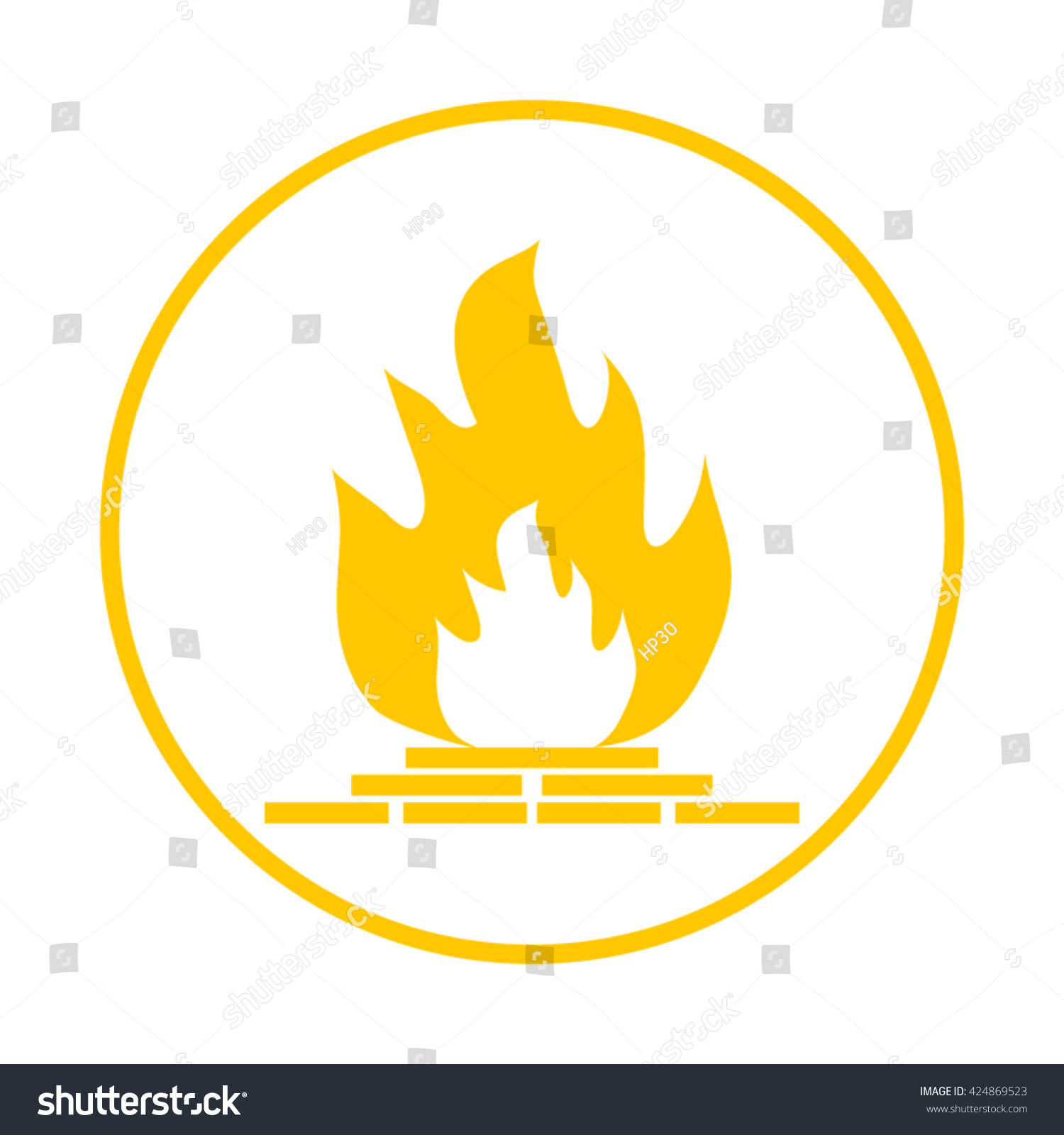 Fireplace Icon. Chimney Symbol,Vector Fireplace With Fire ...
