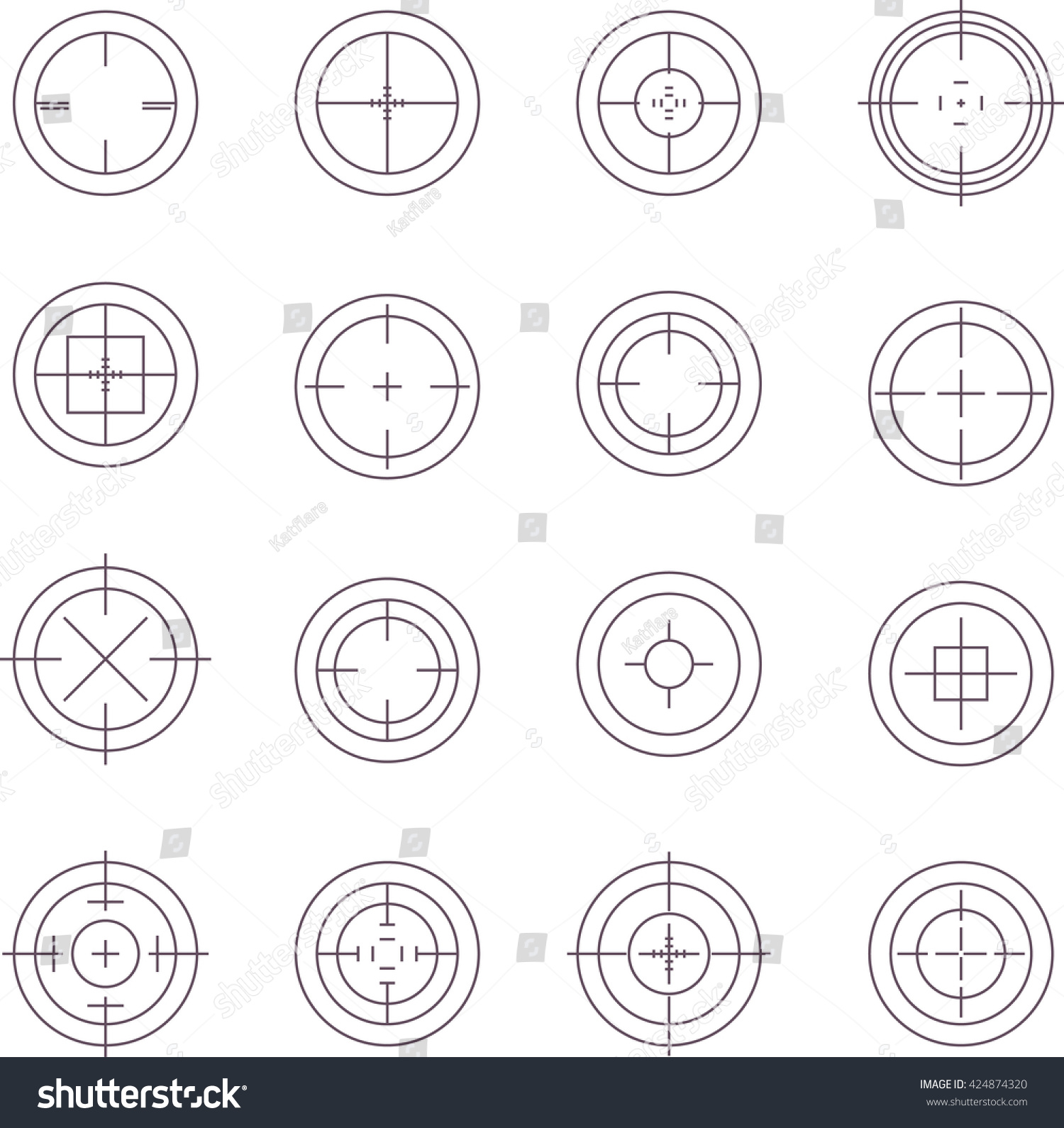 99fe96fdae7d Collection of flat game targets isolated. Crosshair icon. Aim icon.  Bullseye sign.