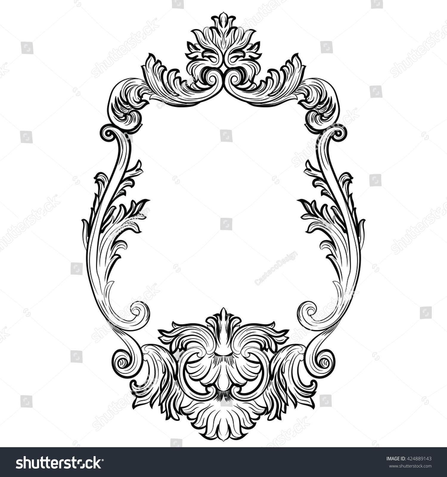 Baroque Rococo Mirror Frame Decor Vector Stock Vector (Royalty Free ...