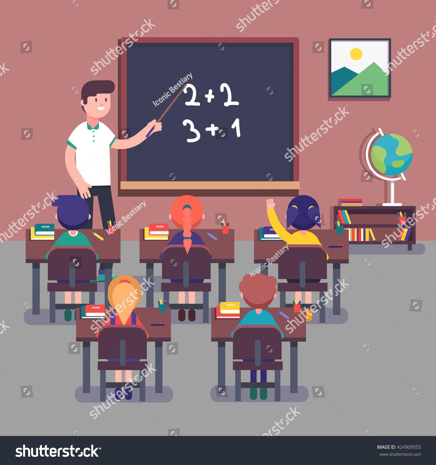 Modern Math Classroom ~ Kindergarten teacher teaching math his small stock vector