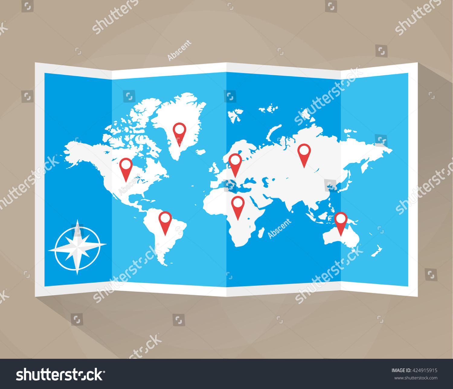 Paper world map location icons map stock illustration 424915915 paper world map with location icons map icon map illustration in flat design gumiabroncs Image collections