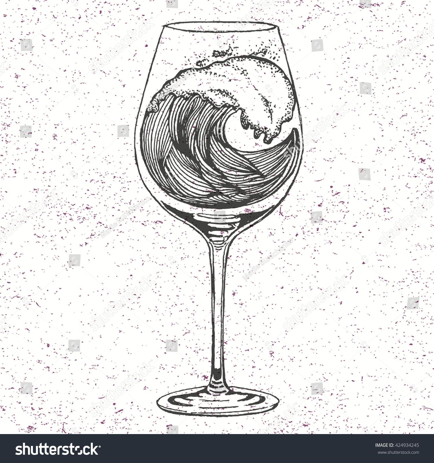 Hand Drawn Illustration Wave Wine Glass Stock Vector ...