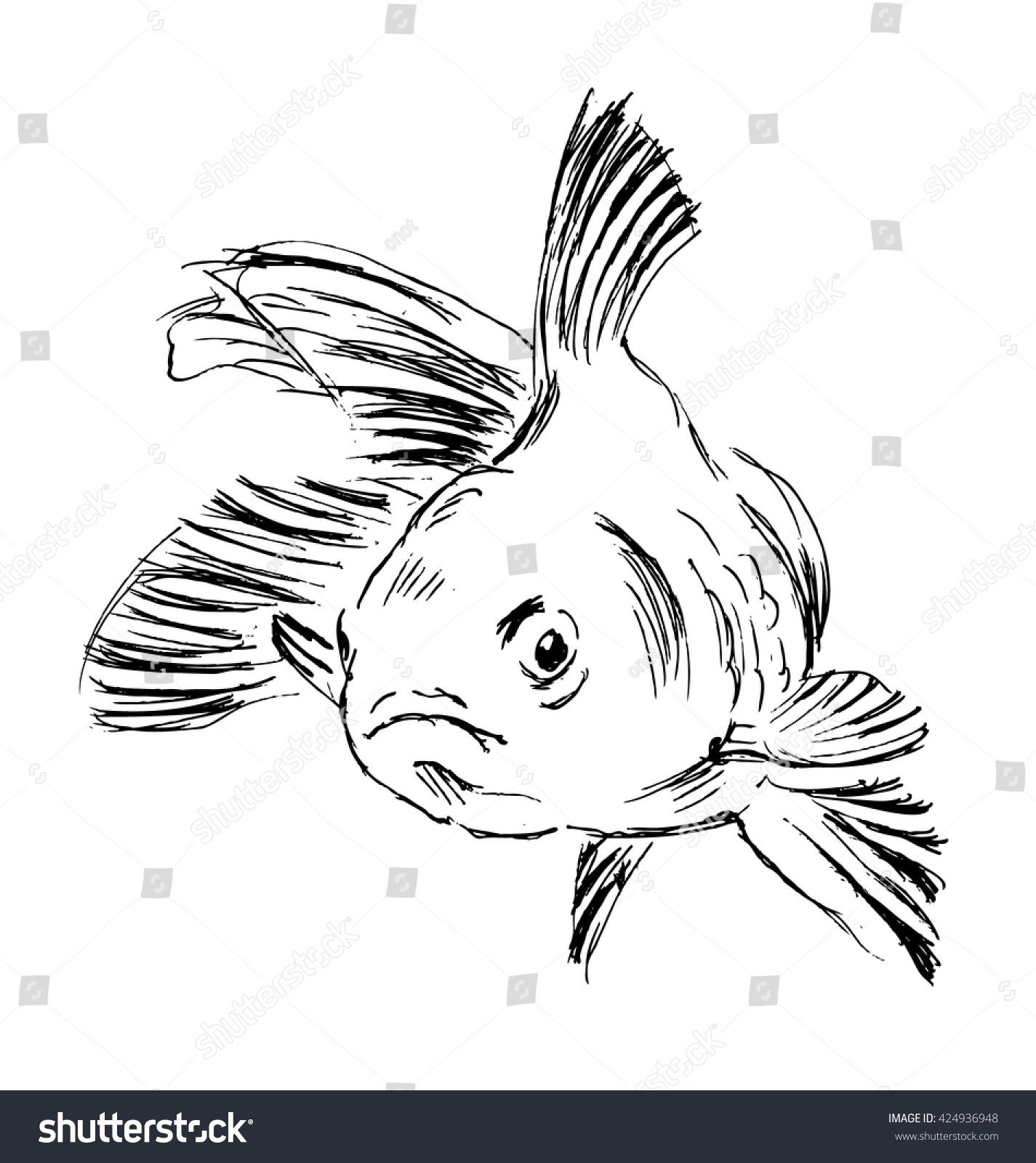 hand sketch fish vector illustration stock vector 424936948