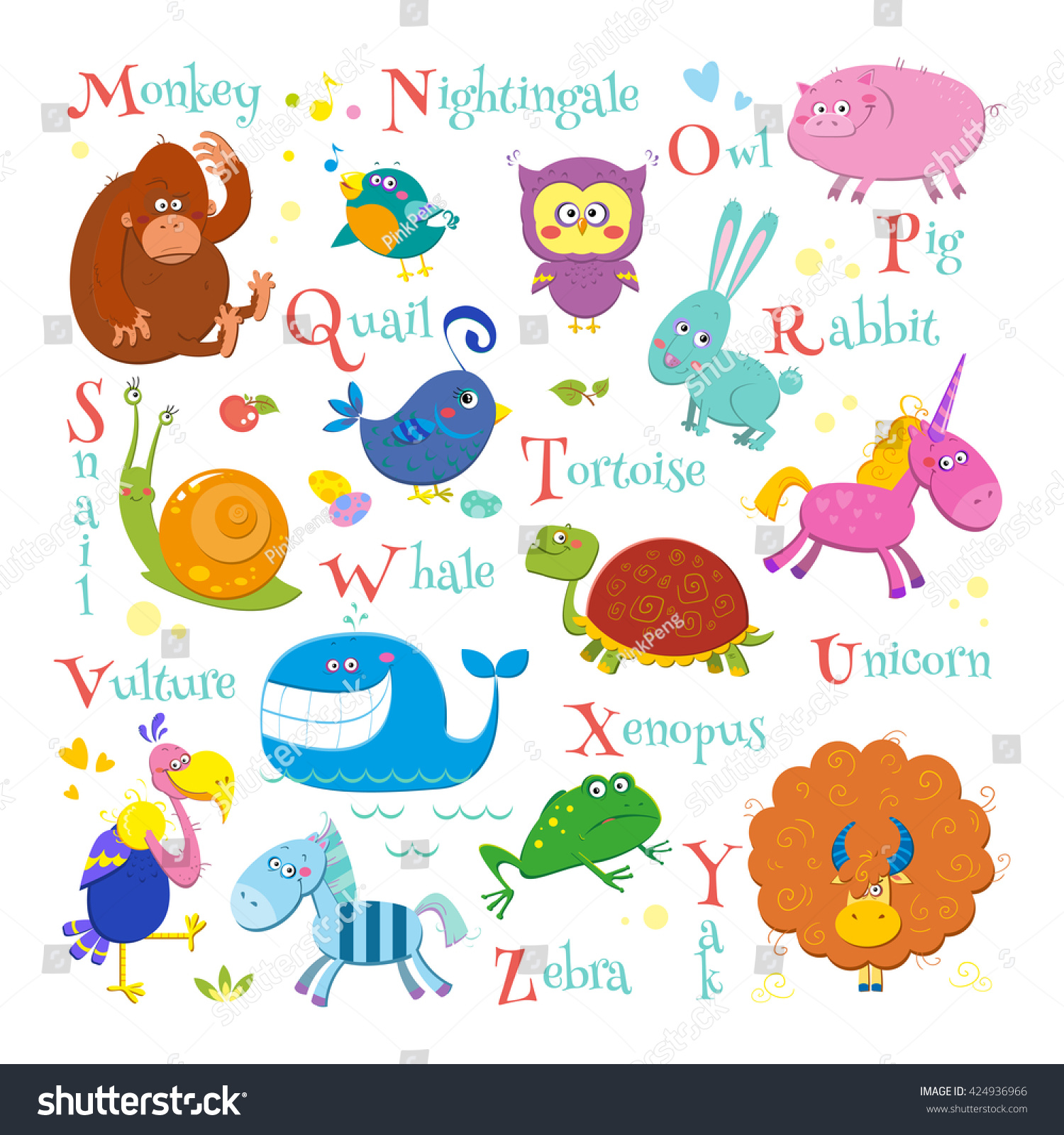Set English Zoo Alphabet Cute Cartoon Stock Vector (Royalty