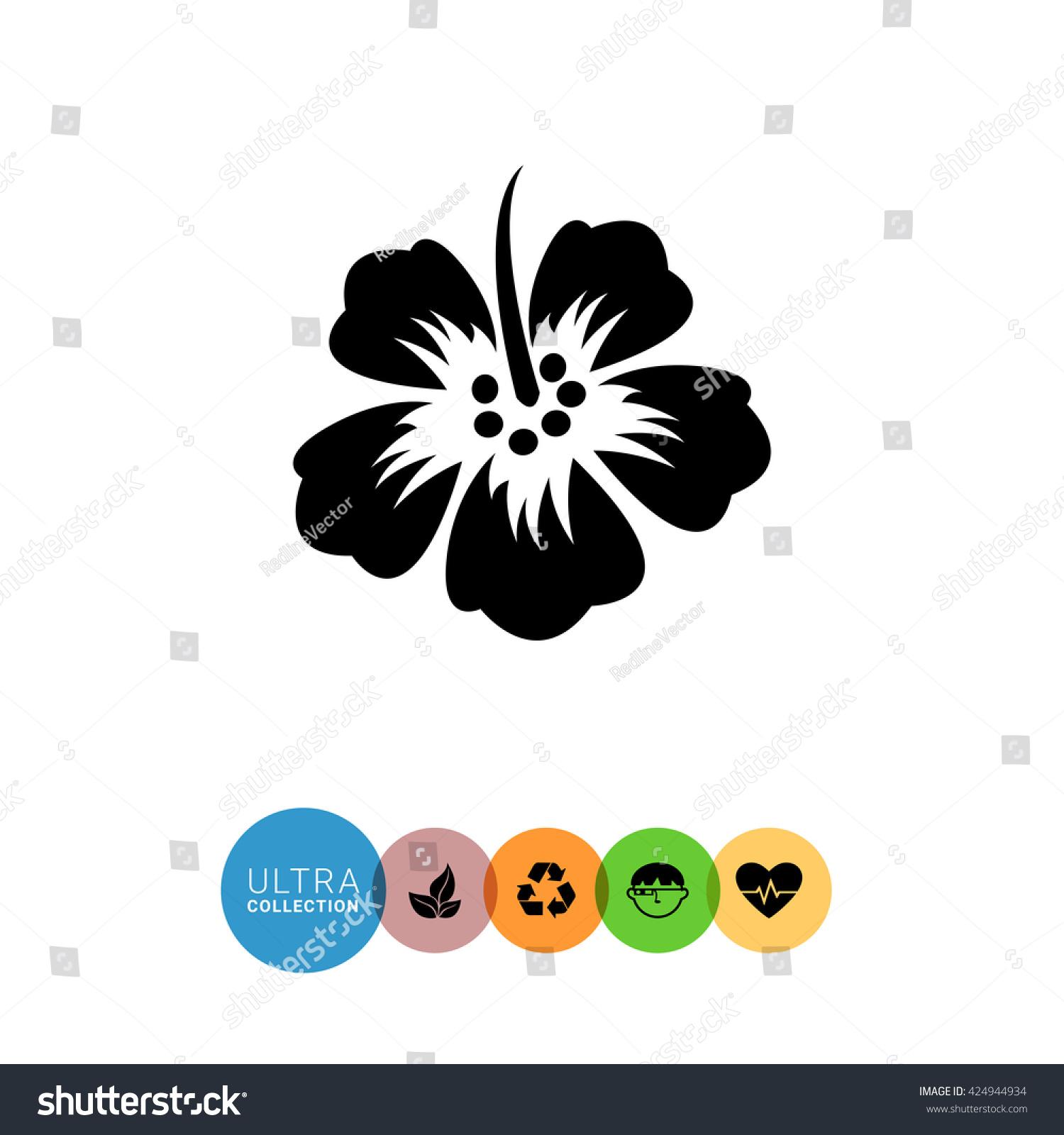 Hibiscus Flower Black Color Illustration Tropical Flower Silhouette