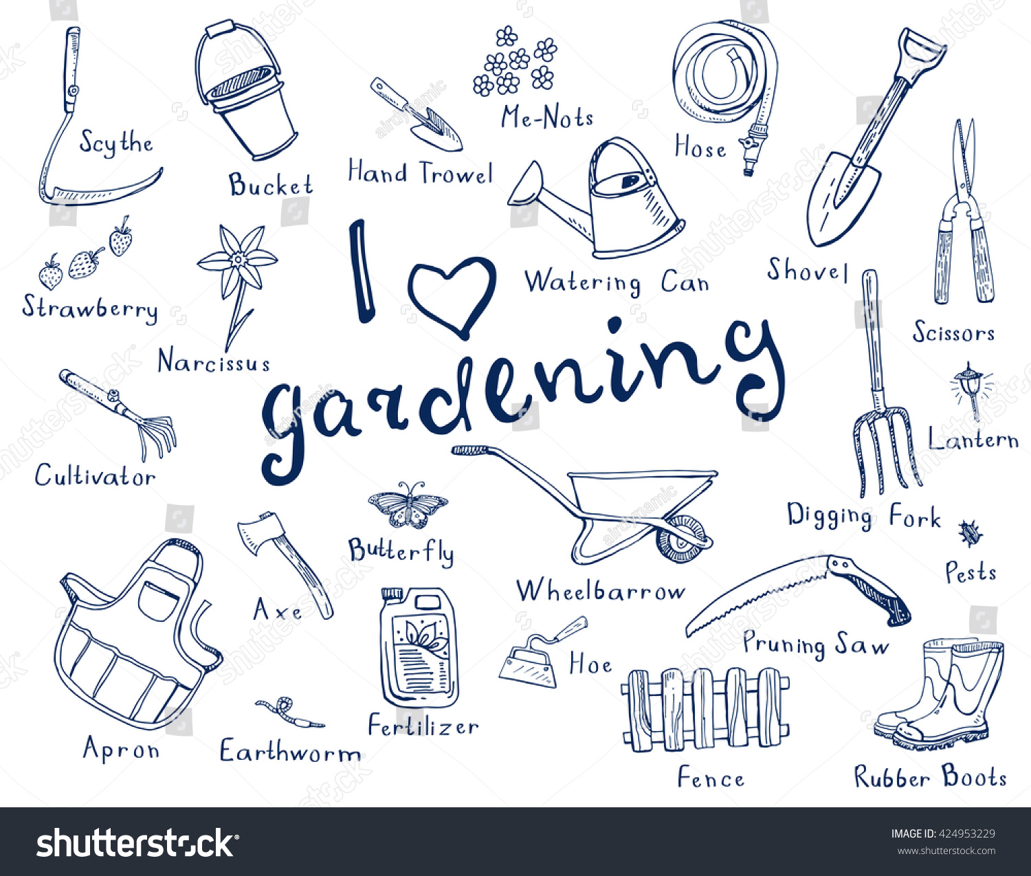 Hand drawn doodles of gardening tools  plants  pests in blue color and with  names. Hand Drawn Doodles Gardening Tools Plants Stock Vector 424953229