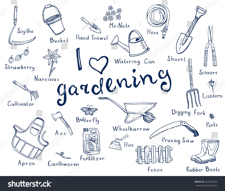 hand drawn doodles gardening tools plants stock vector
