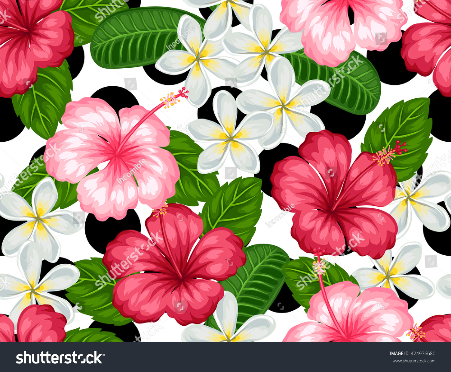Seamless pattern tropical flowers hibiscus plumeria stock vector seamless pattern with tropical flowers hibiscus and plumeria background made without clipping mask easy izmirmasajfo