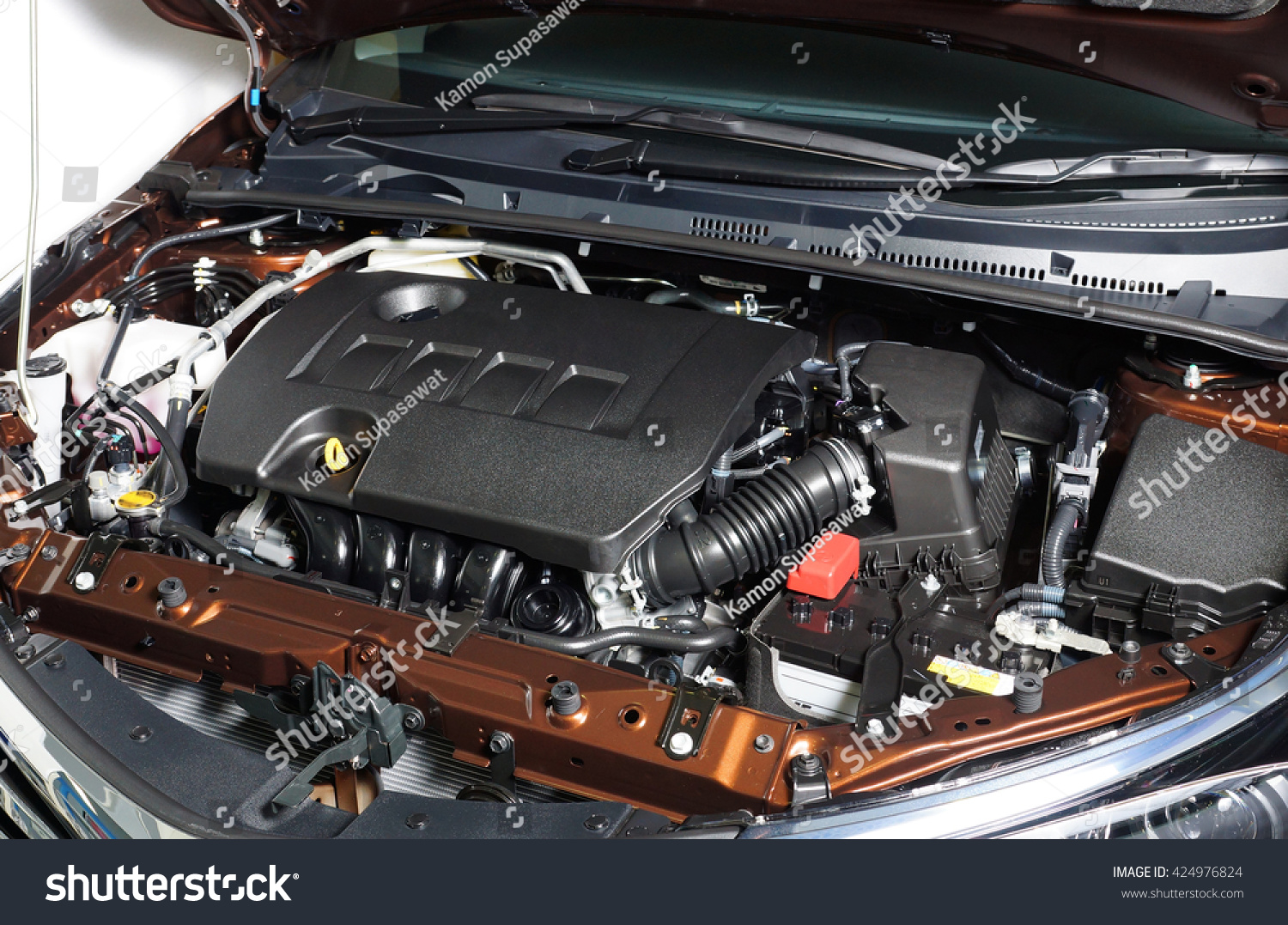 Car Engine Room Show All Parts Stock Photo (Royalty Free) 424976824 ...