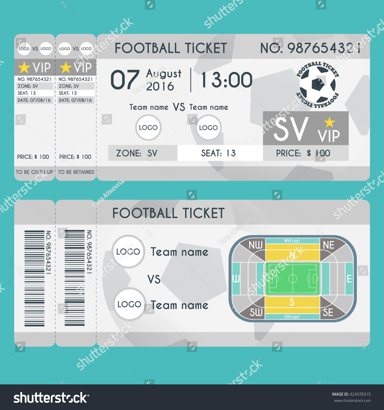 Football Ticket Modern Design Soccer Stadium Stock-Vektorgrafik ...