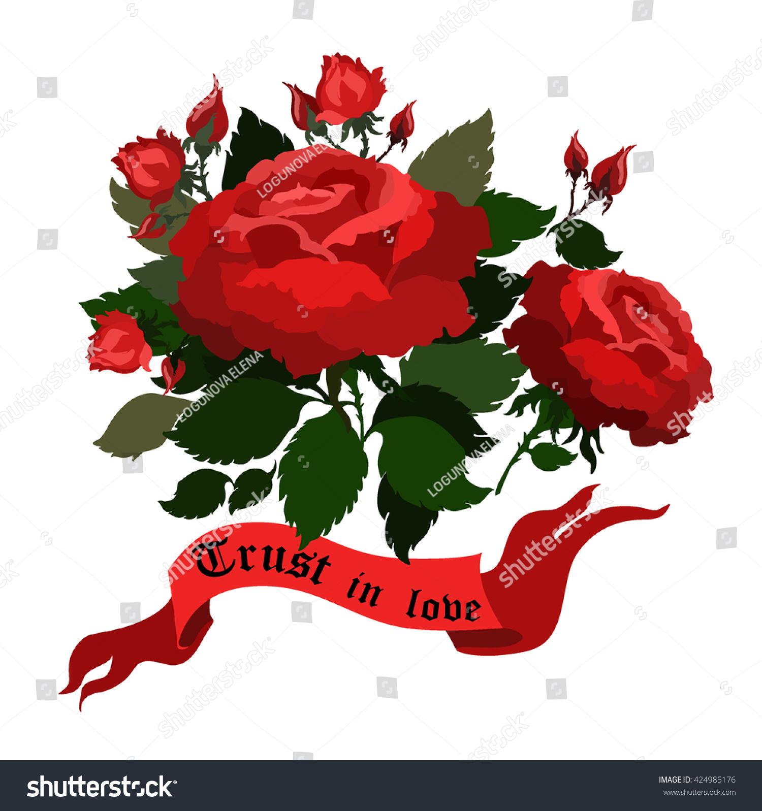 Vector Roses Ribbon Bannertattoo Art Illustration Stock Vector ... for Vector Rose Flower Png  156eri