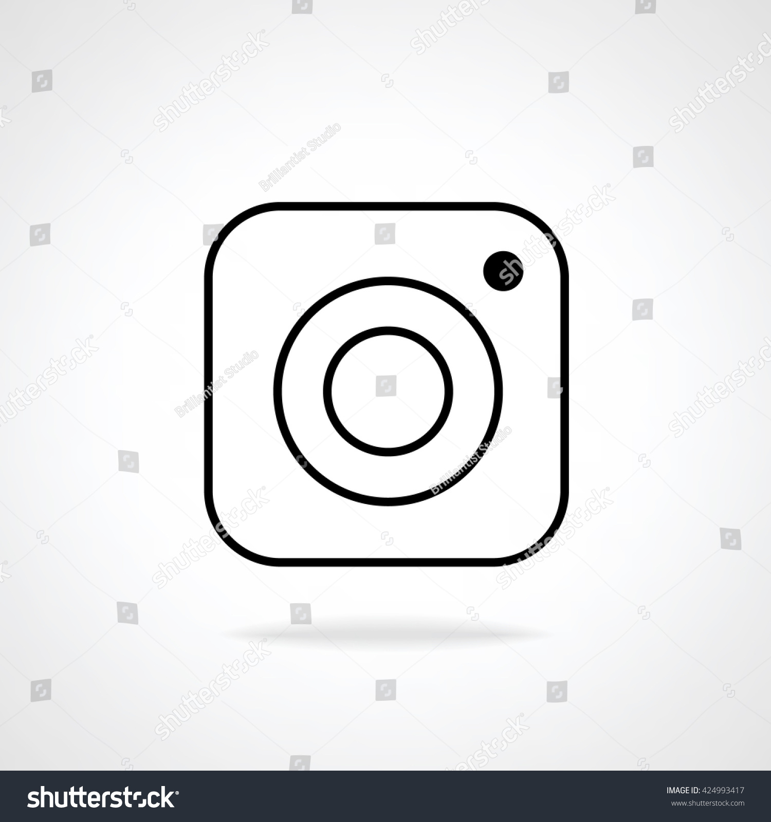 Line Drawing Instagram : Hipster photo camera line icon on background inspired by