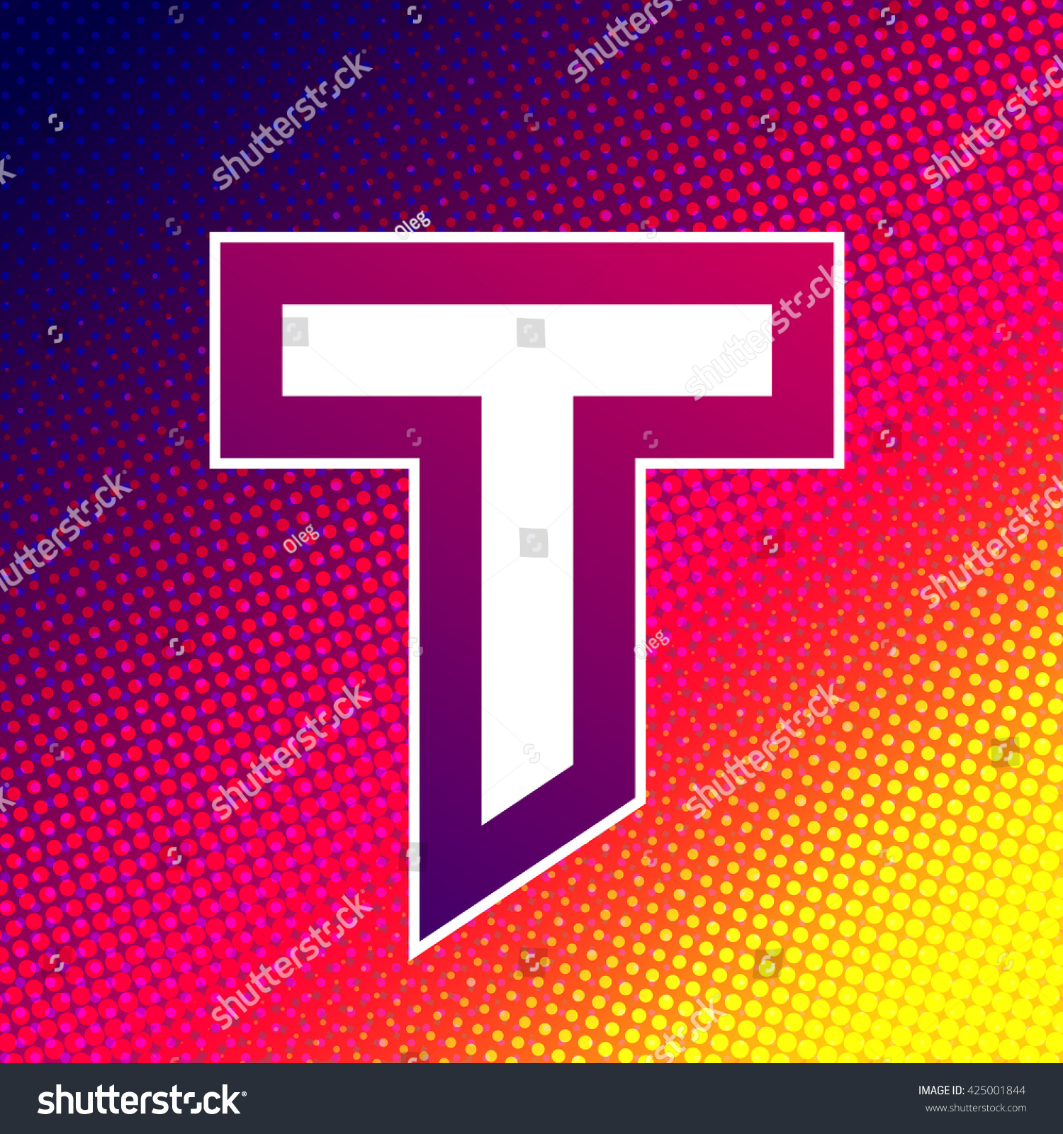 Abstract Colorful Letter T On Halftone Stock Vector (Royalty Free ...