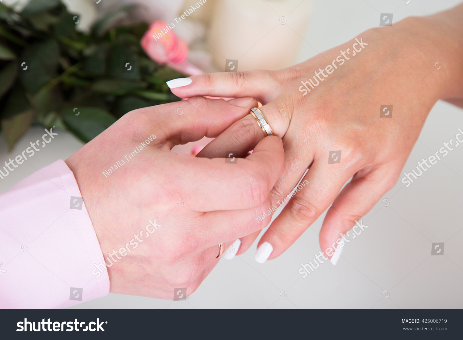 Hands Rings Groom Putting Golden Ring Stock Photo (Edit Now ...