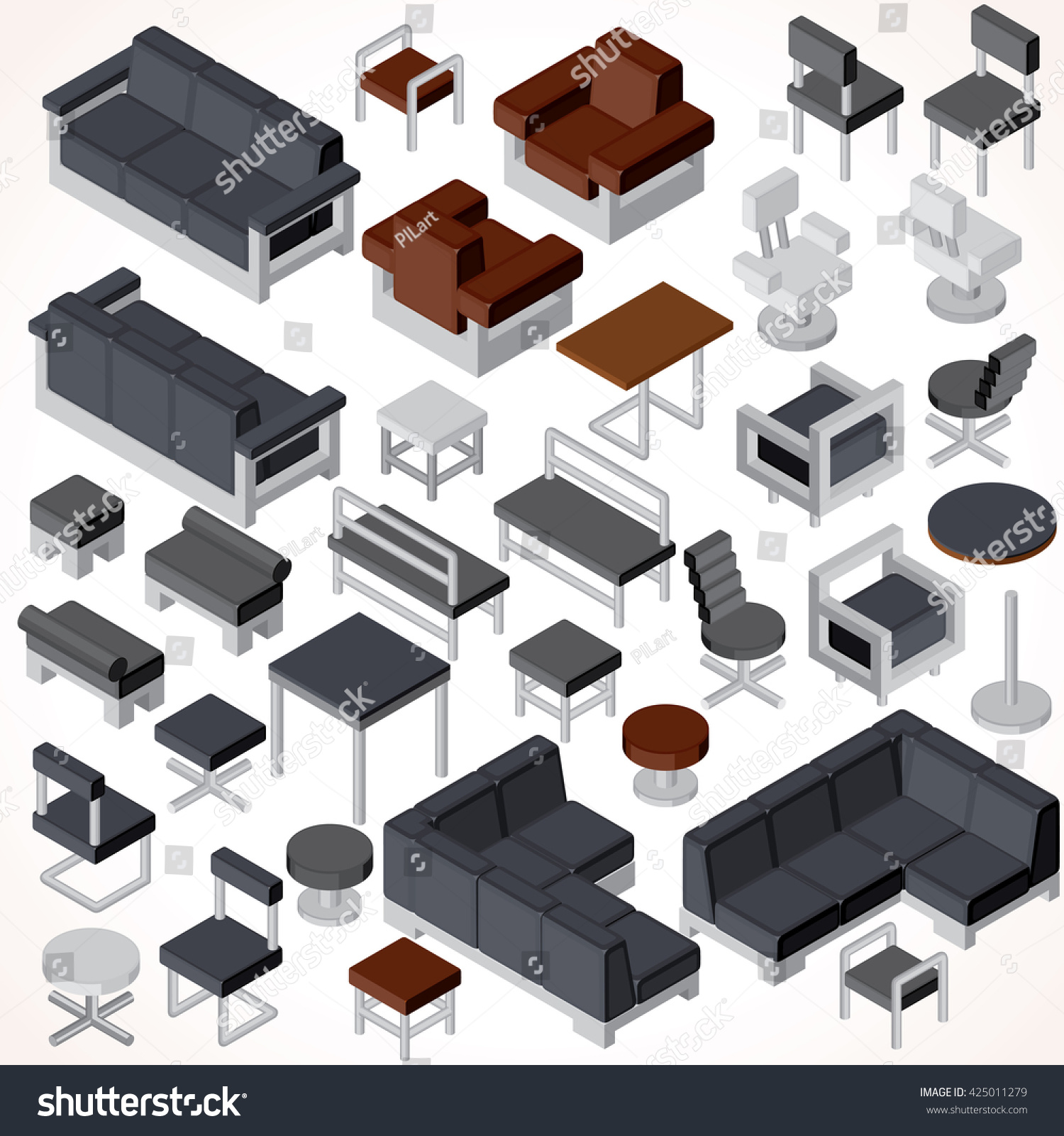 isometric office furniture vector collection. isometric office furniture vector collection set of various cabinets shelves tables l