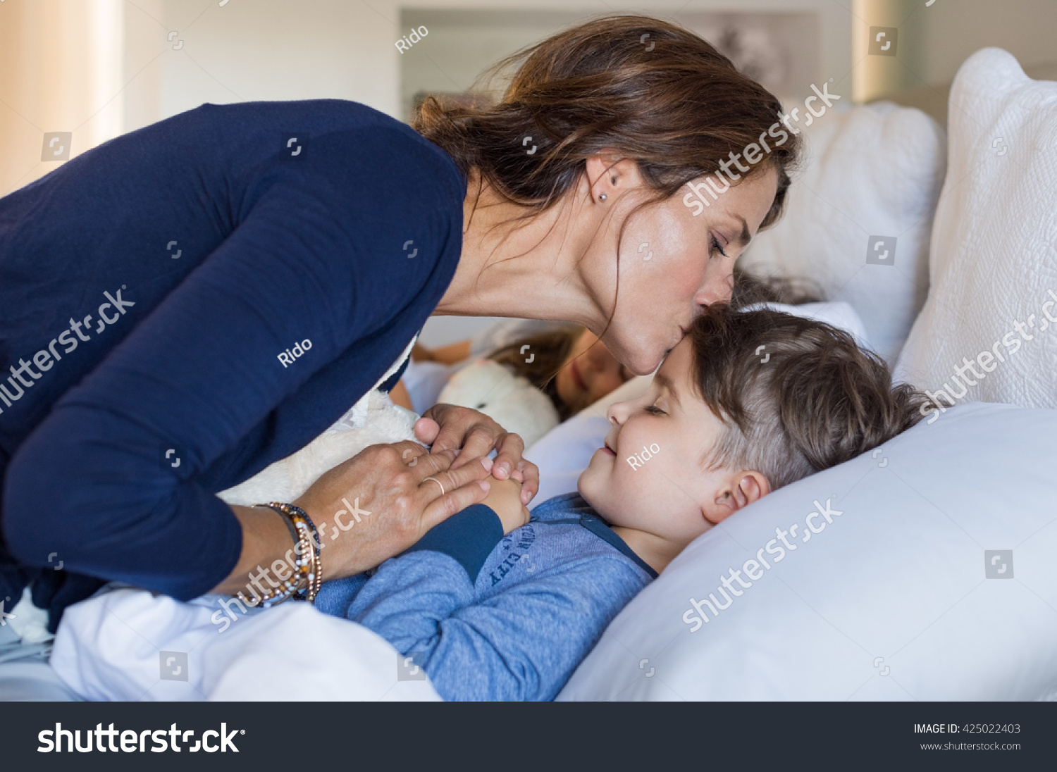 Mom Son Bed Mother Giving Good Night Kiss Sleeping Stock