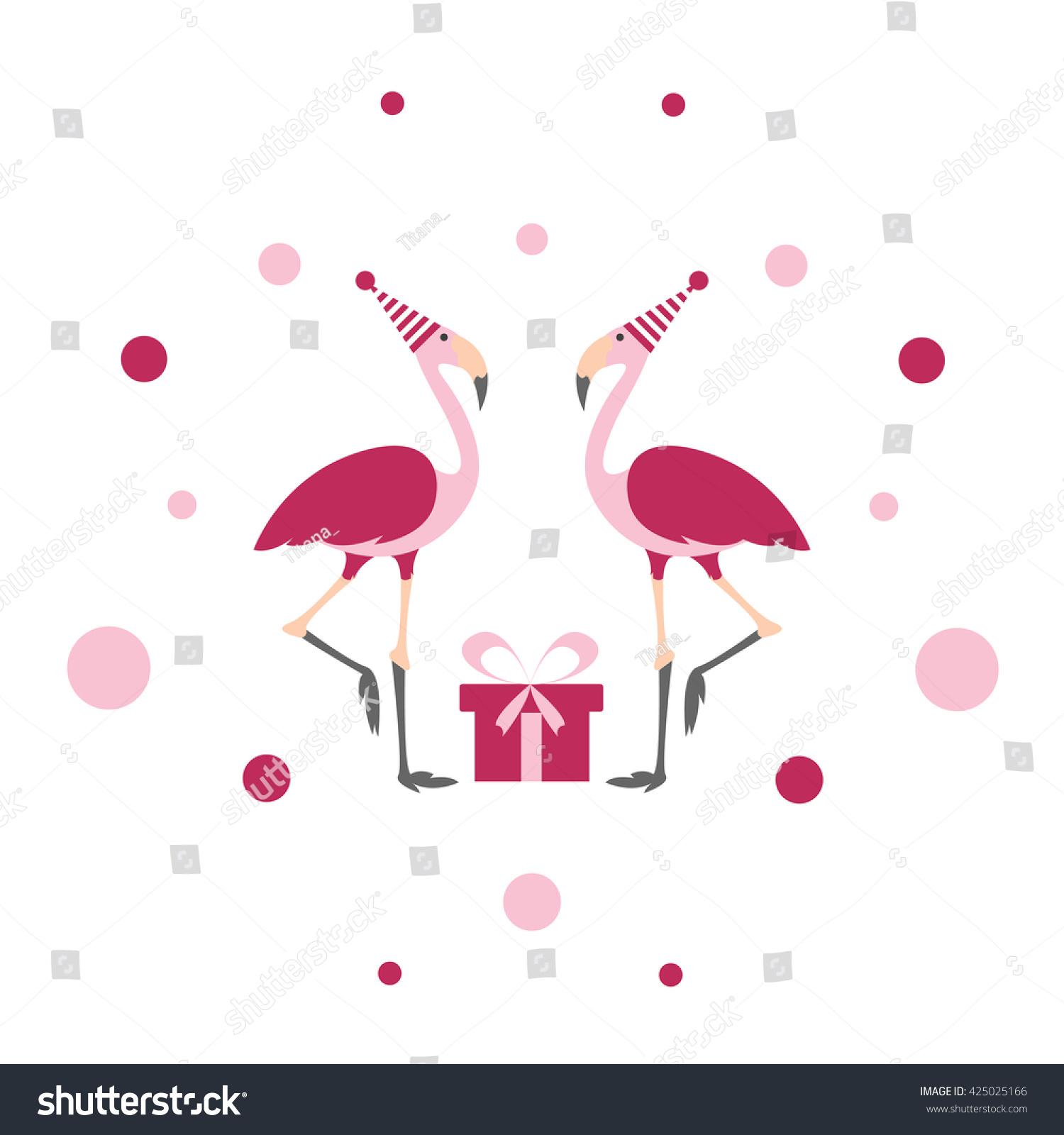 Flamingo Birthday Summer Vector Card Flamingo Stock Vector