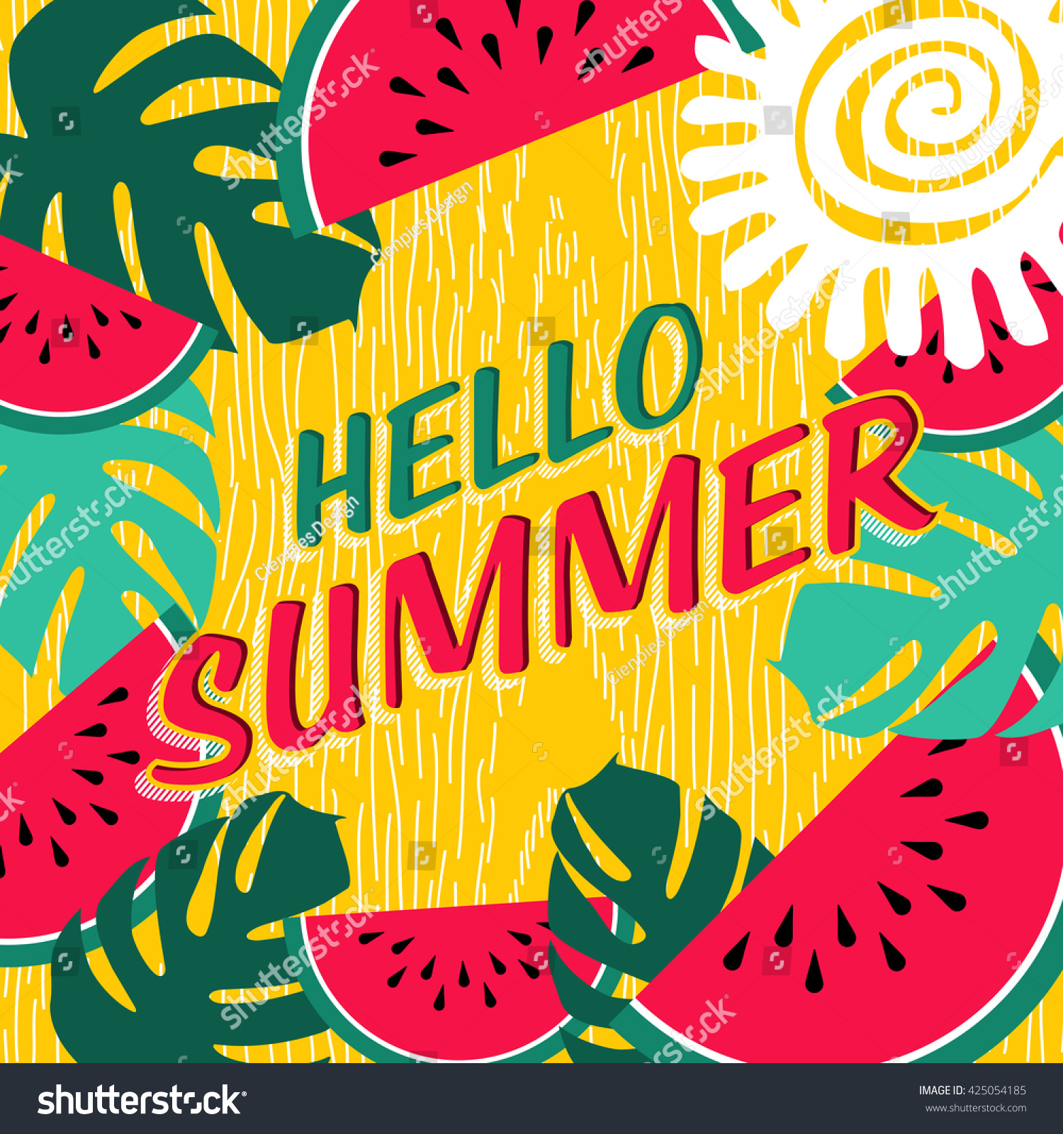 Hello Summer Lettering Design Colorful Tropical Stock