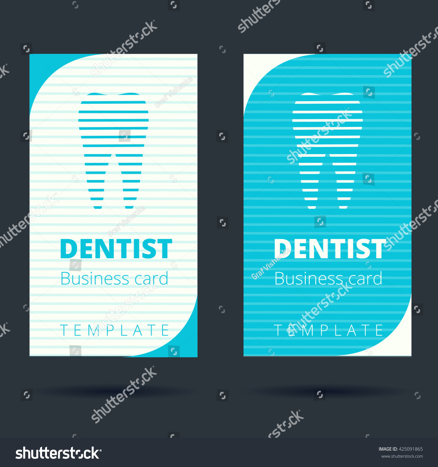 dentist stomatologist business card template tooth stock vector