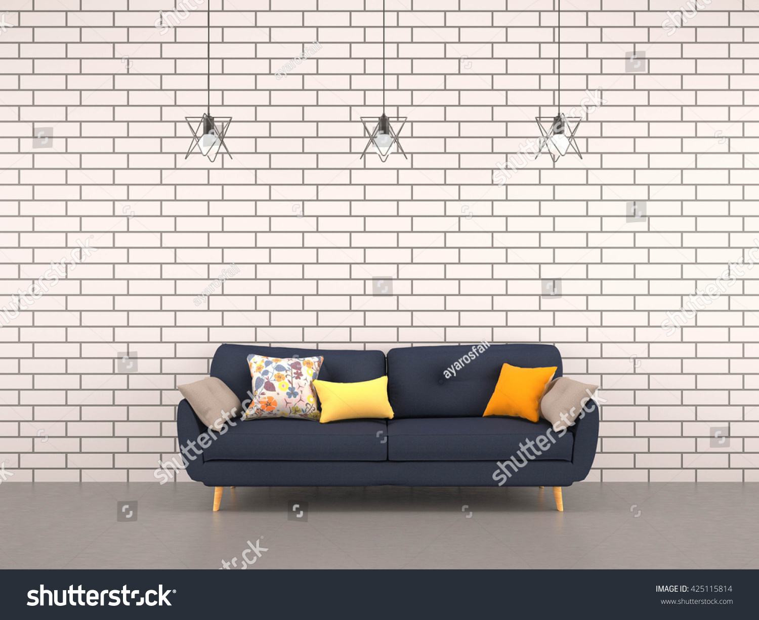 Living Room White Bricks Wall Navy Stock Illustration 425115814 ...