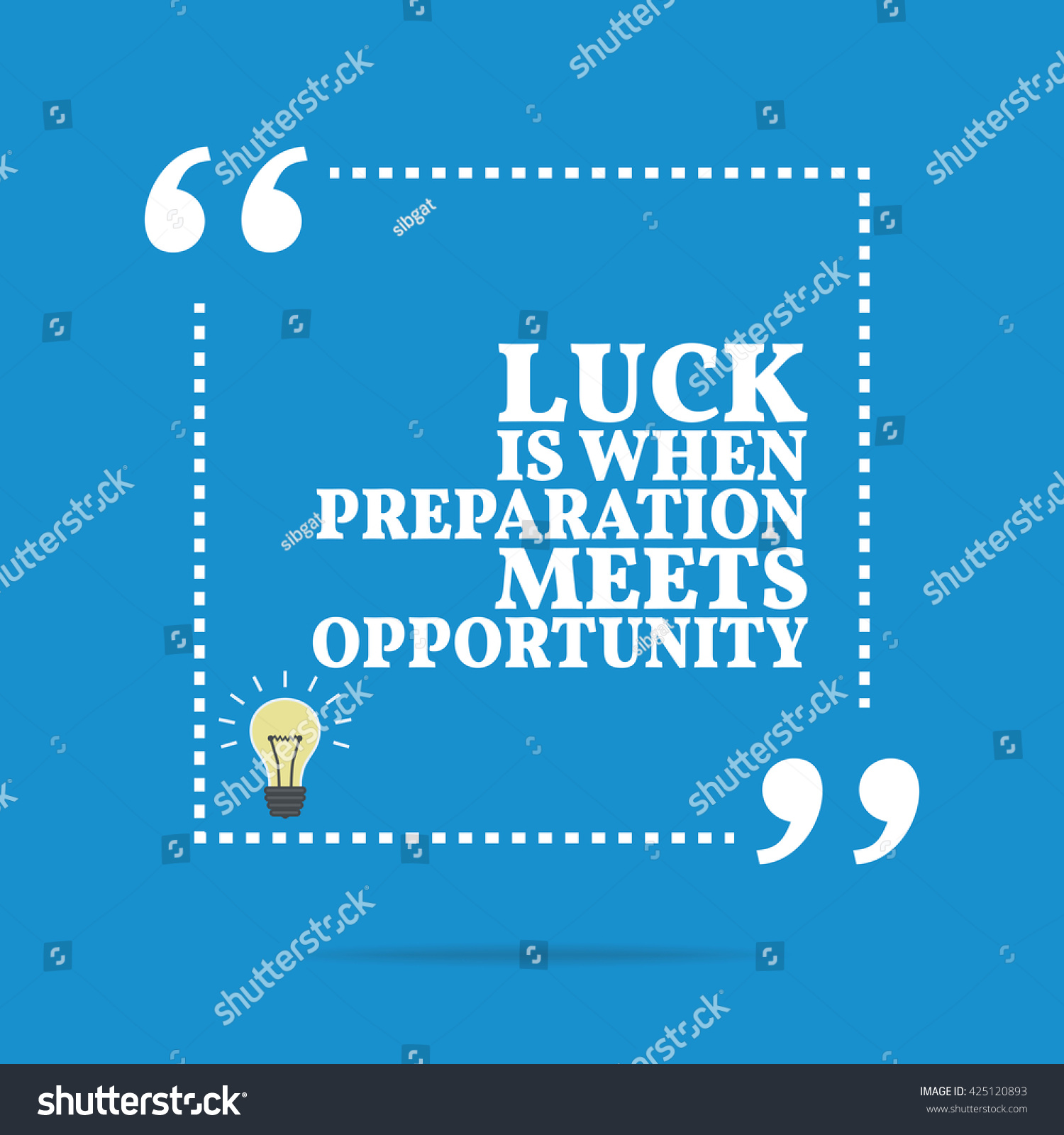 Quote Success Is When Preparation Meets Opportunity: Inspirational Motivational Quote Luck When Preparation