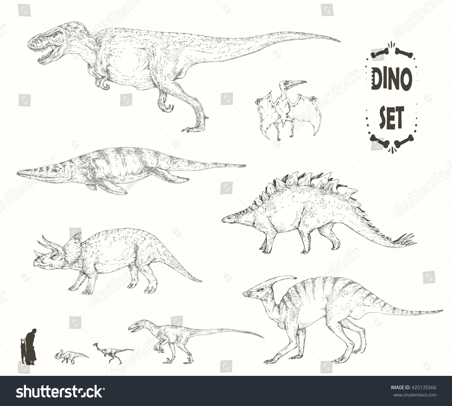 Uncategorized Sketches Of Dinosaurs set realistic sketches dinosaurs fossils hand stock vector of and drawn illustration silhouettes of