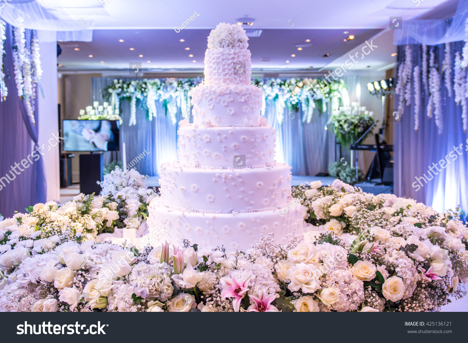 Beautiful Wedding Cake Decoration Wedding Reception Stock Photo