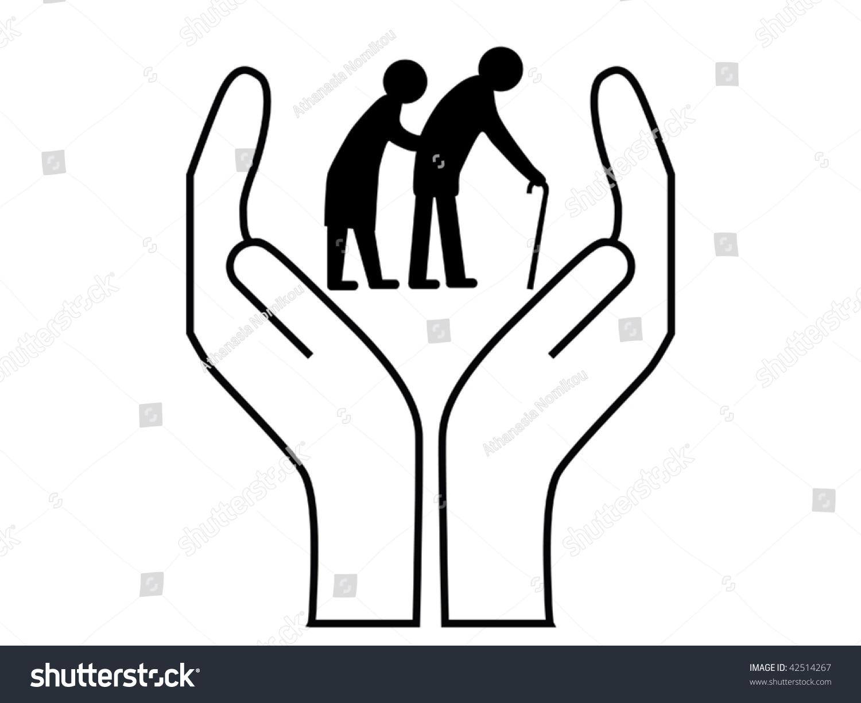 elderly care vector stock vector 42514267 shutterstock rh shutterstock com Home Care Clip Art clipart senior care