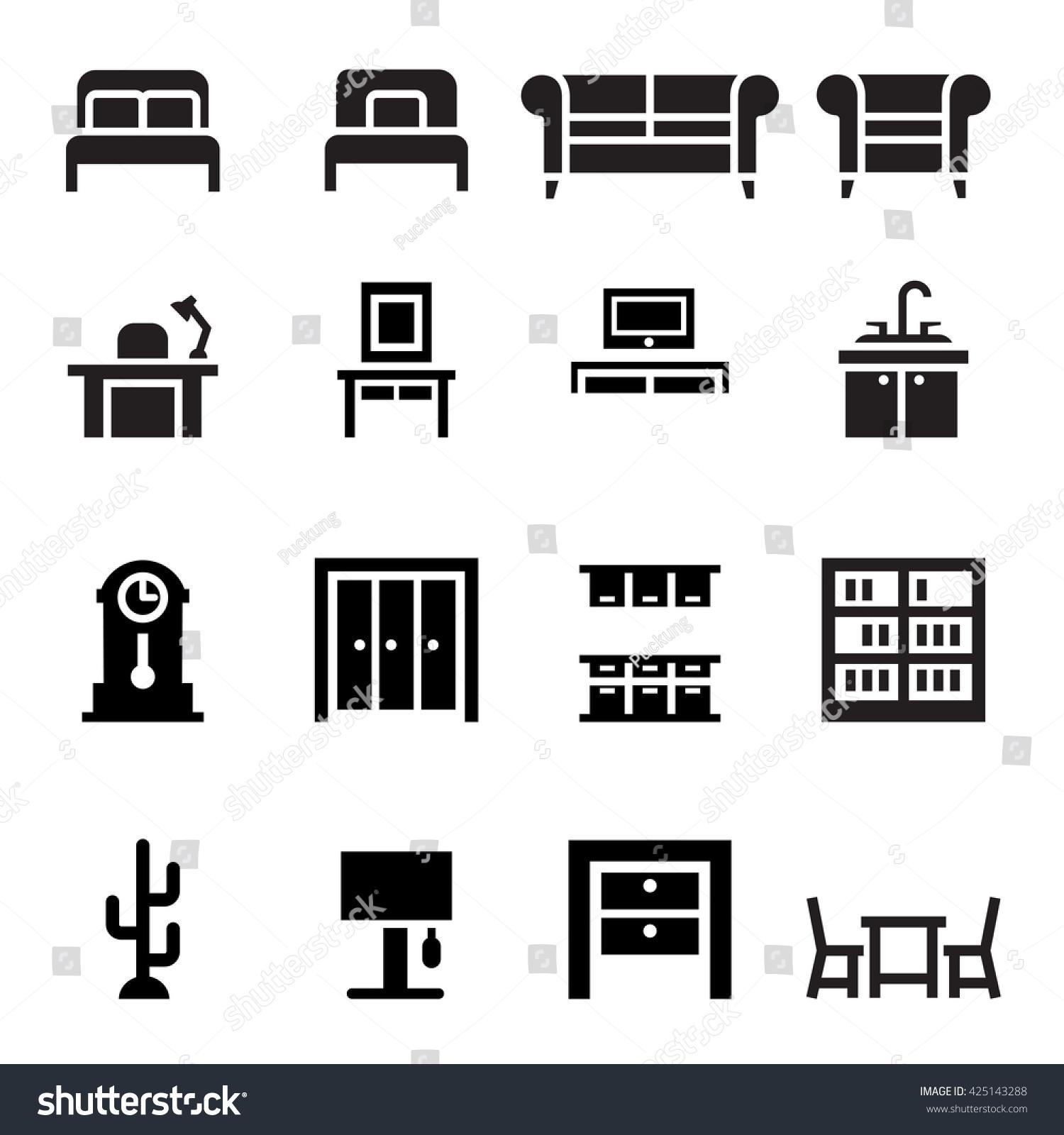 Furniture Sofa Bed Wardrobe Dining Table Interior Design Icon Set