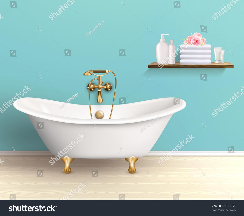 Bathroom Interior Poster Promo Flyer Bathtub Stock Vector (Royalty ...