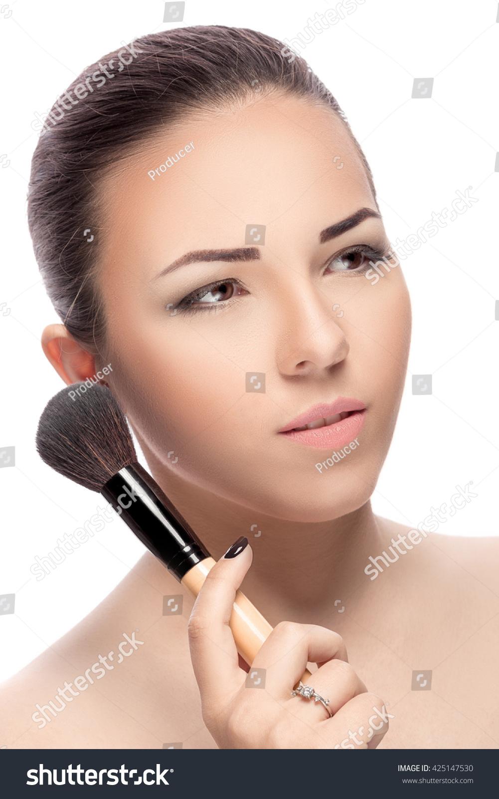 Beauty Woman Makeup Brushes Natural Makeup Stock Photo Edit Now