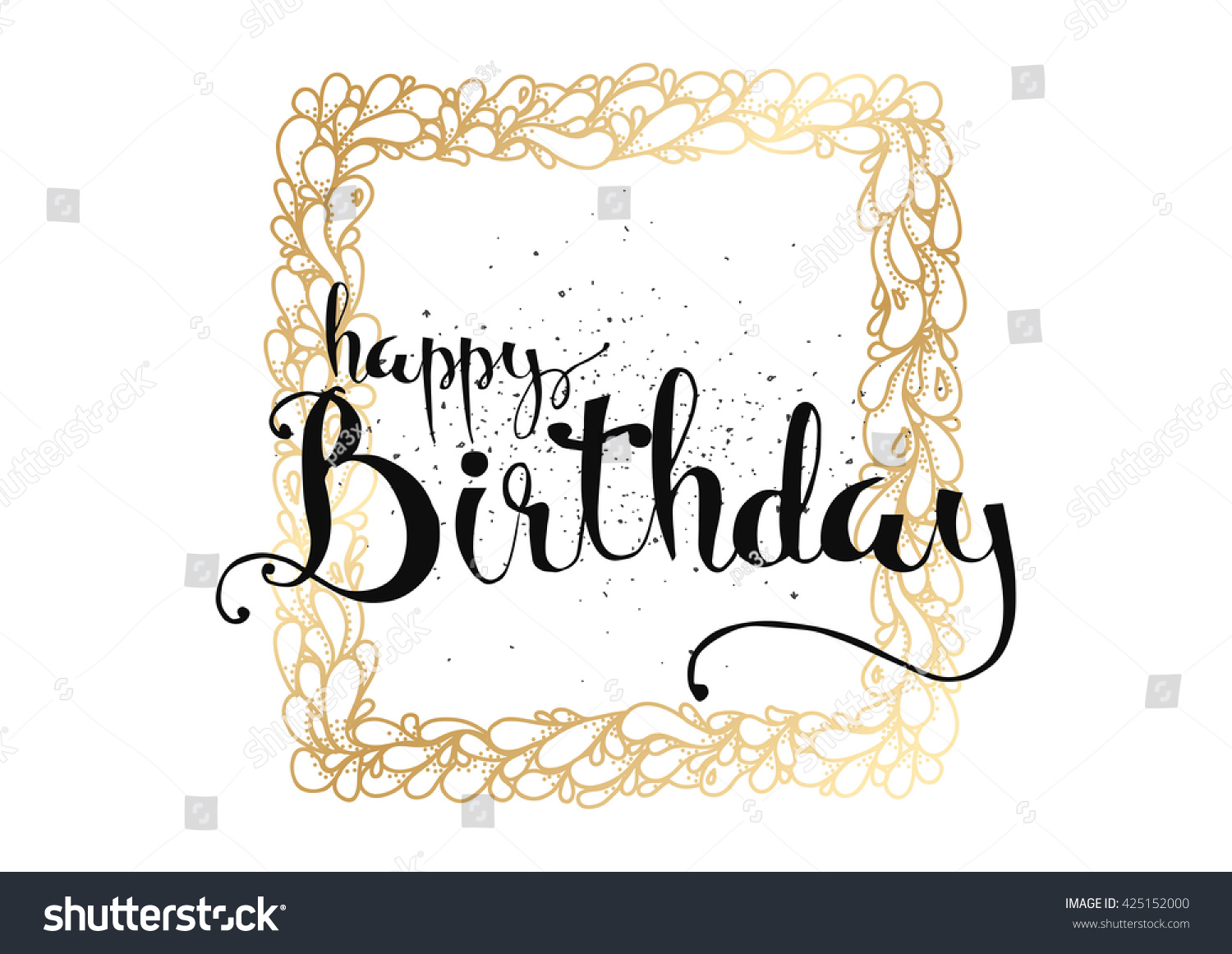 Happy birthday inscription greeting card calligraphy stock