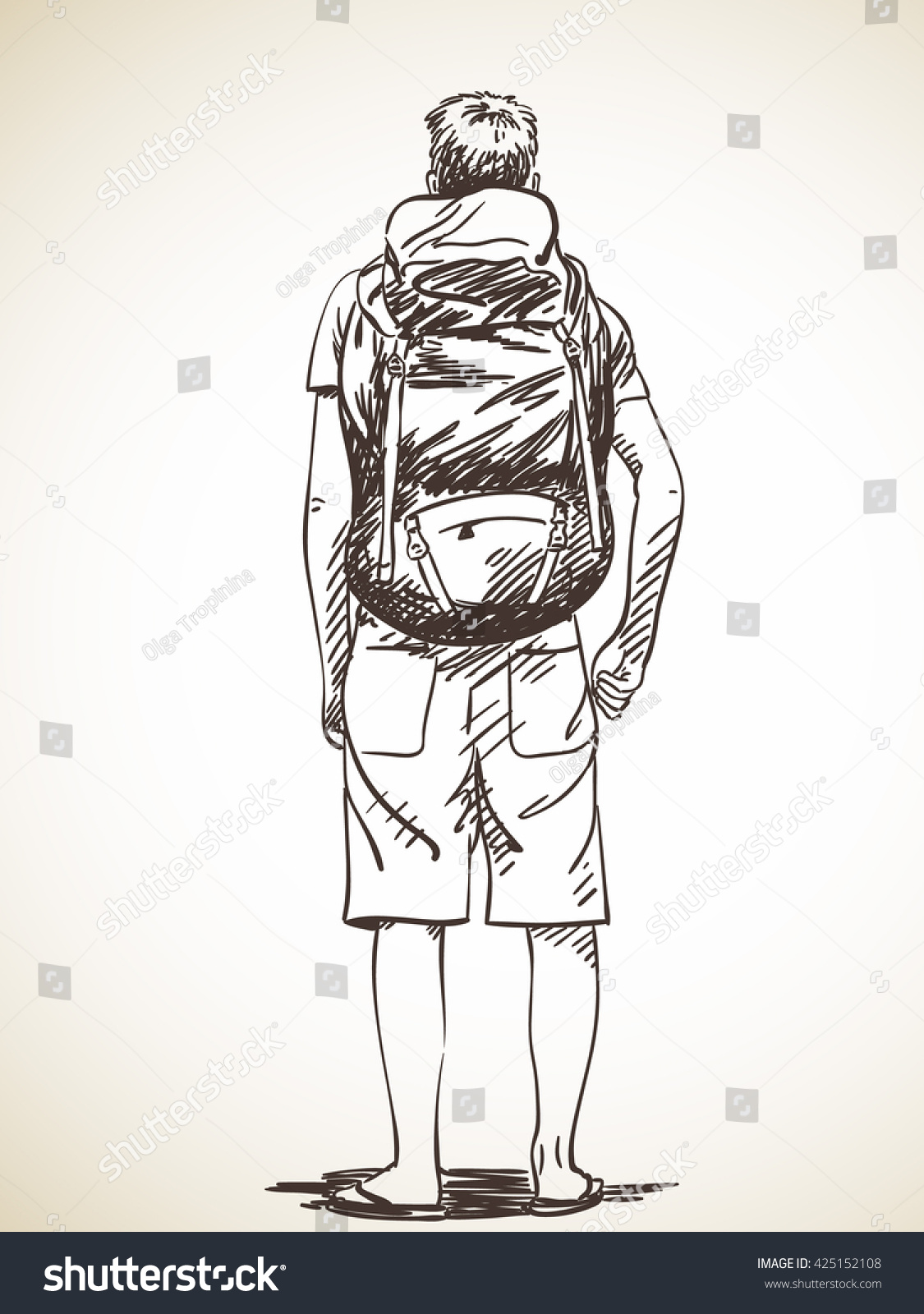 Sketch Of Young Man Standing With Backpack, Hand Drawn ...