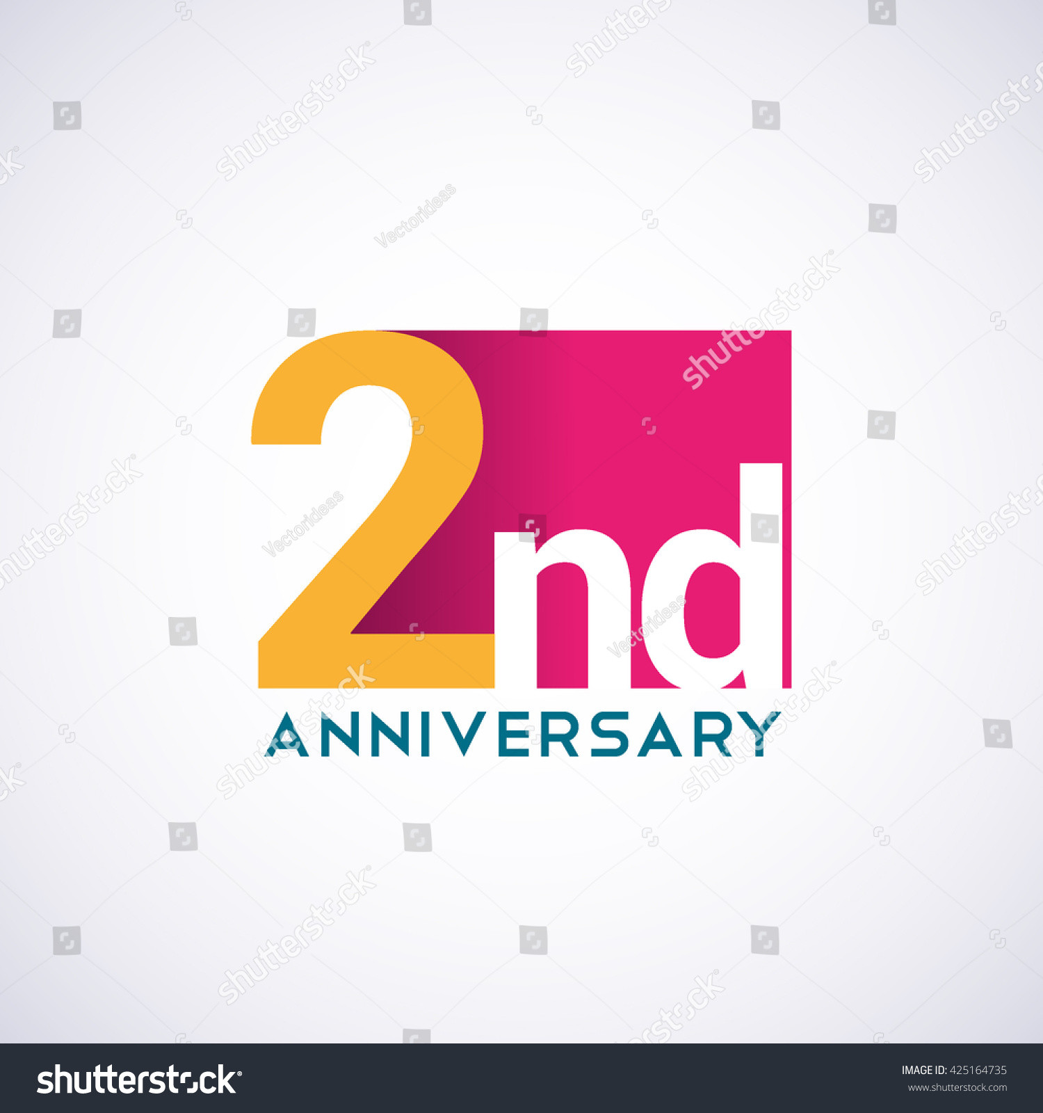 Template logo nd anniversary red colored stock vector