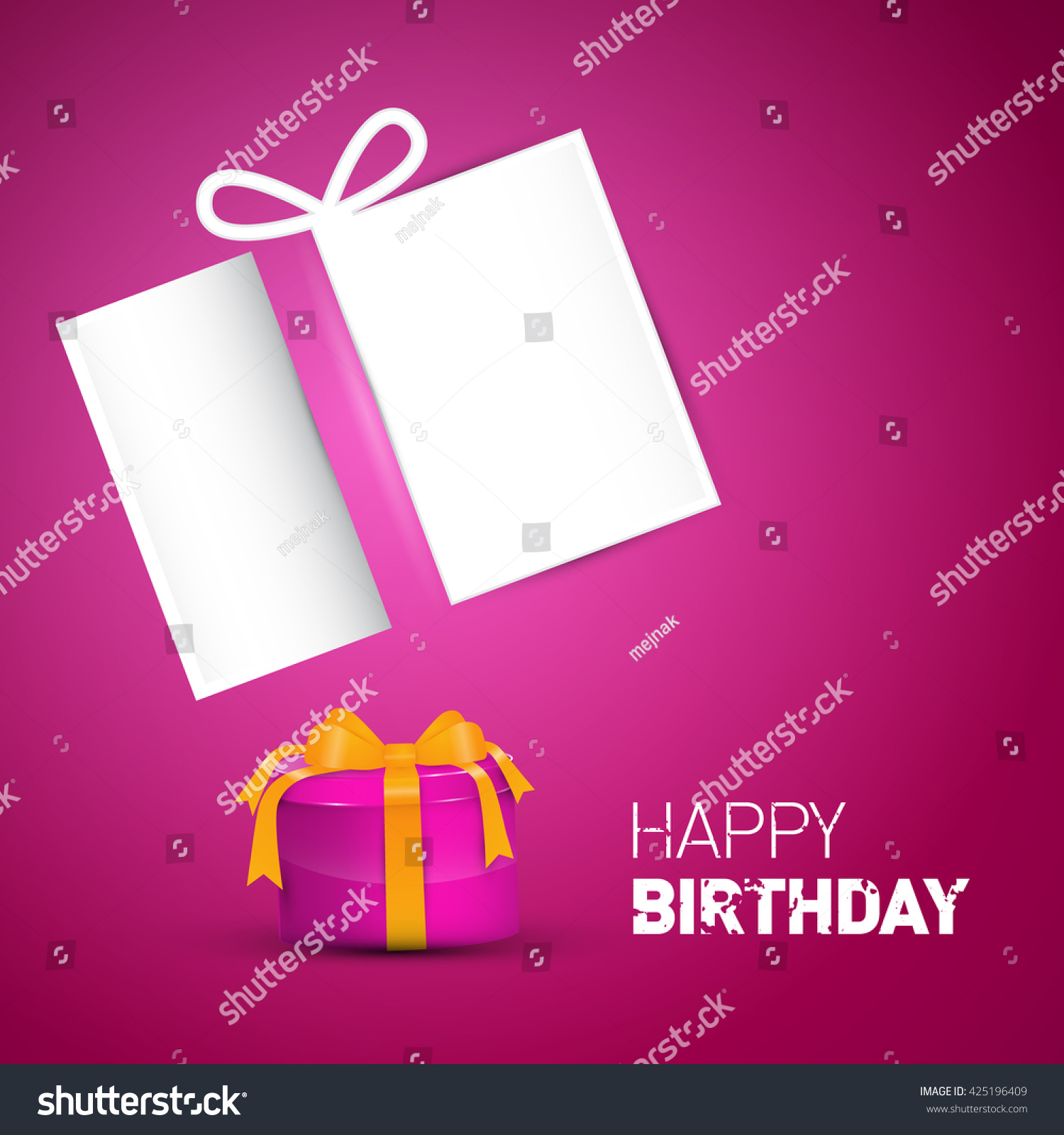 Happy birthday card pink vector birthday stock vector 425196409 happy birthday card pink vector birthday background with gift box and empty paper bookmarktalkfo Choice Image