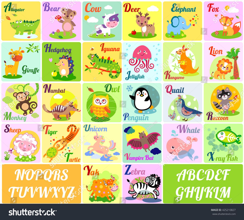 Cute Animal Alphabet English Alphabet Poster Stock Illustration ...