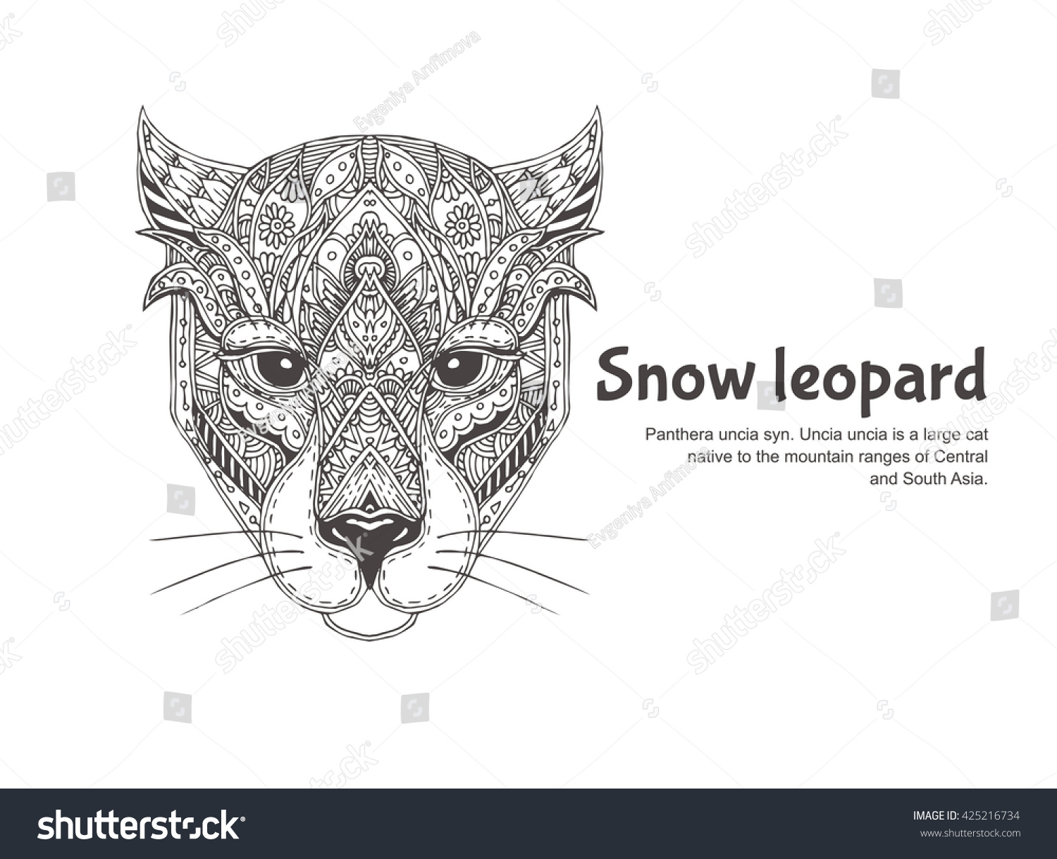 royalty free leopard hand drawn with ethnic floral u2026 425216734