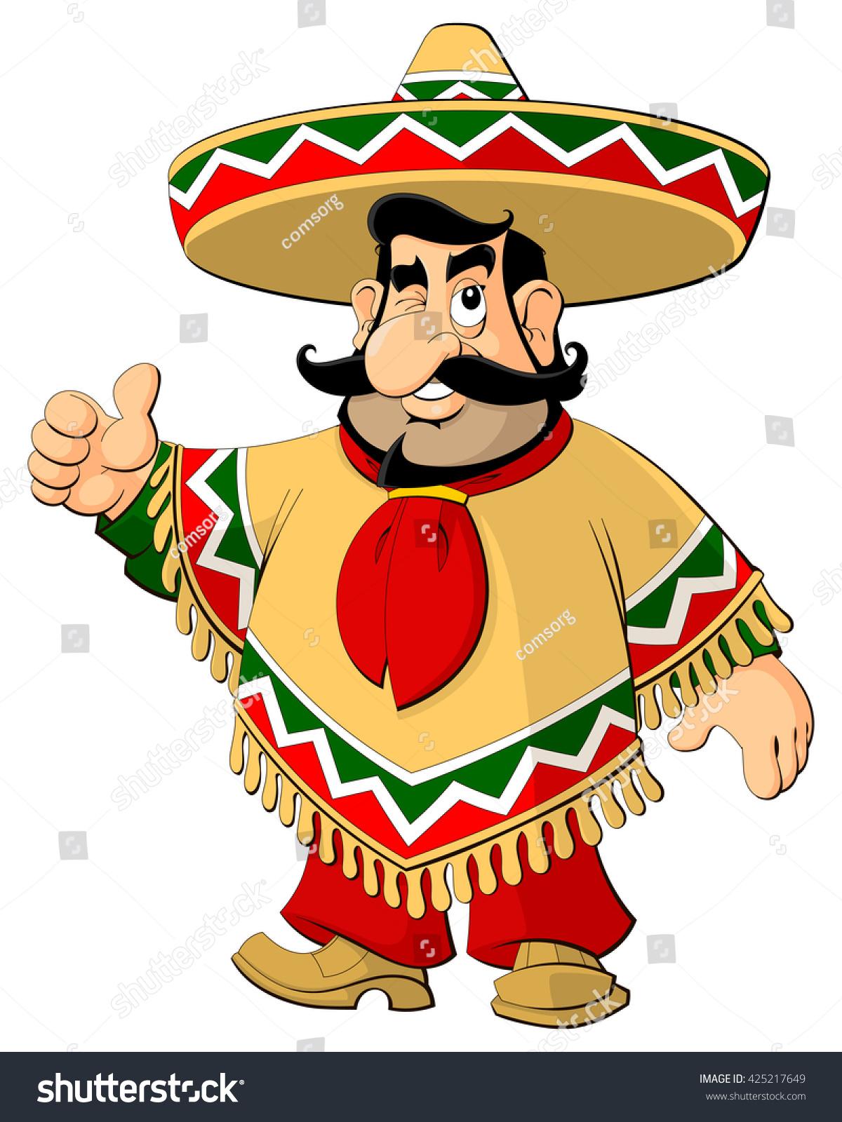 cartoon mexican man sombrero poncho stock vector 425217649