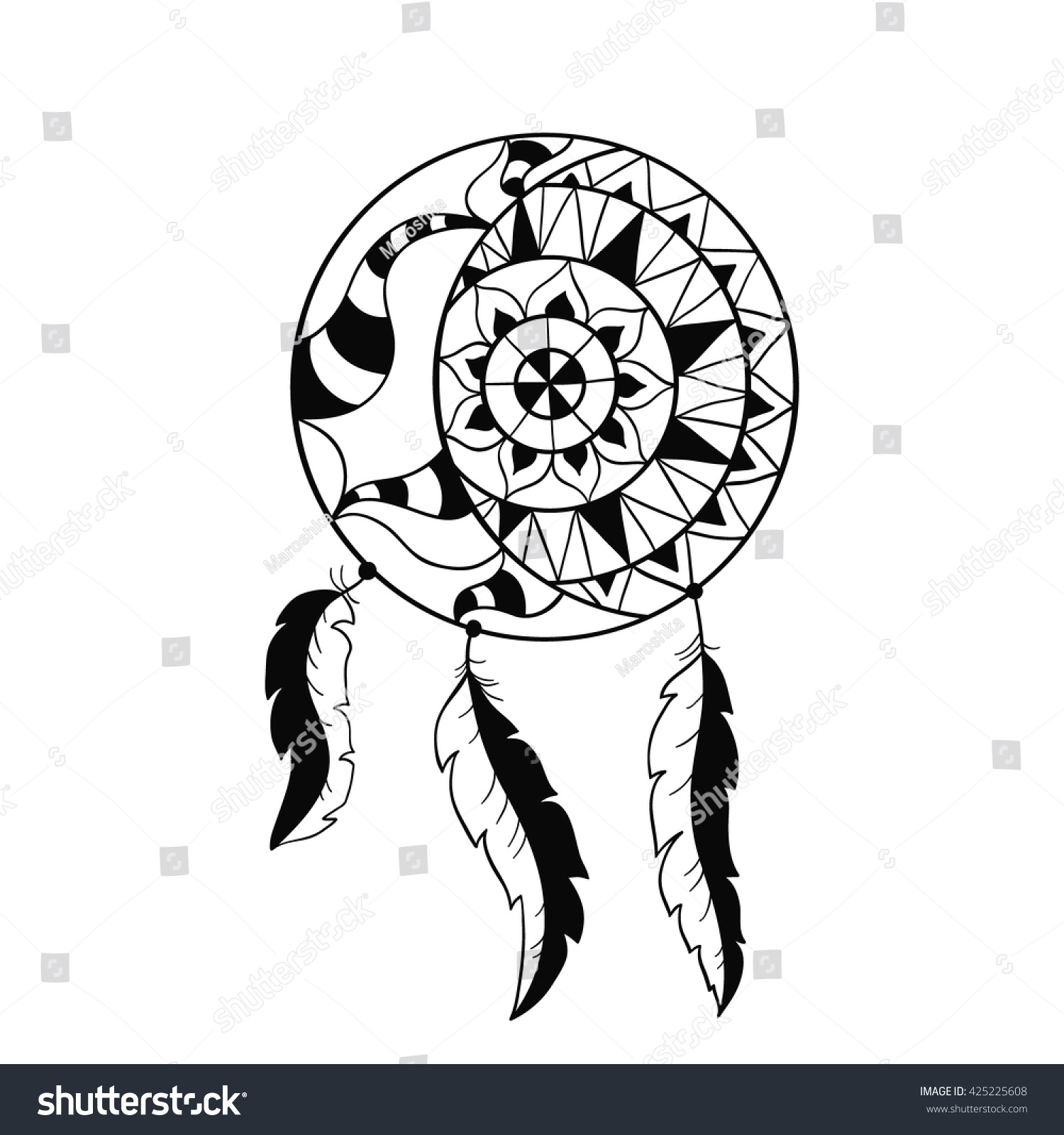 dream catcher symbol sun moon ethnic stock vector 425225608