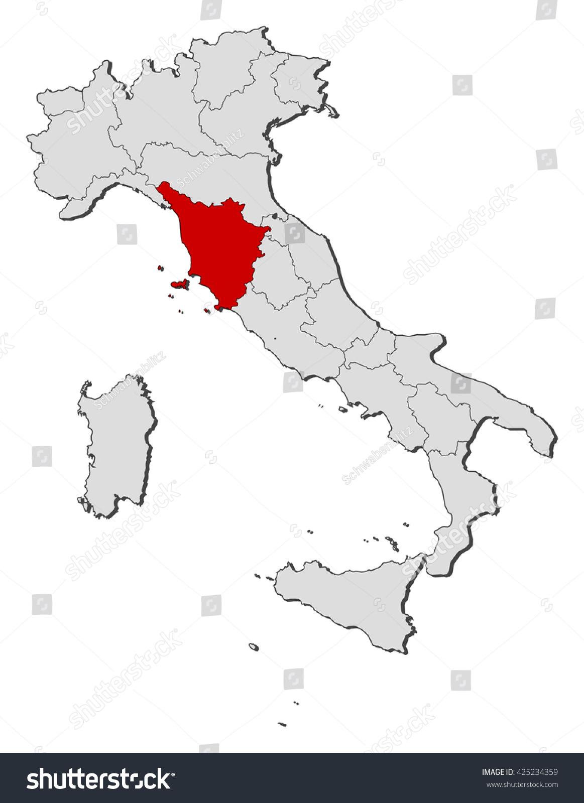 Map Italy Tuscany Stock Vector (Royalty Free) 425234359