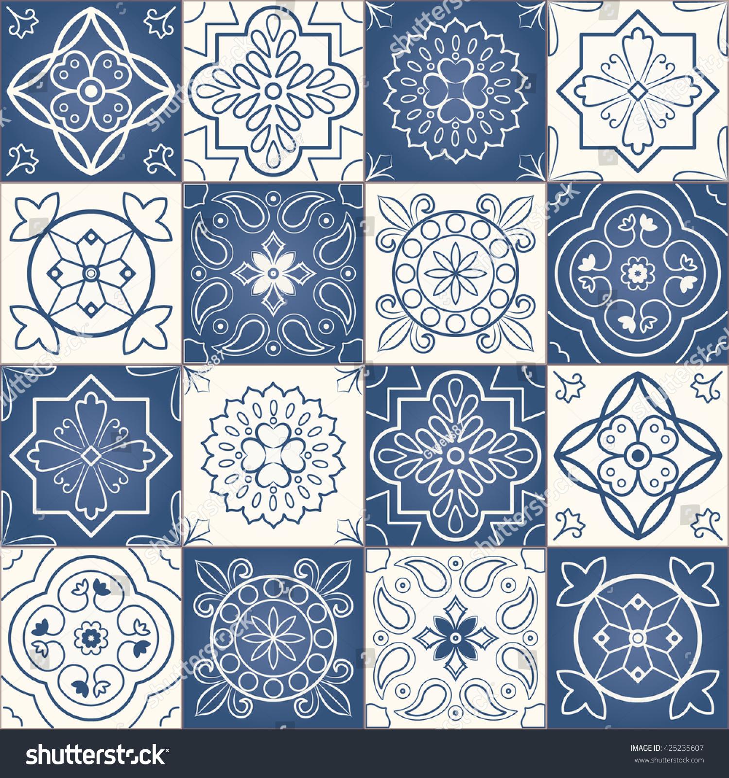 Seamless Patchwork Pattern Dark Blue White Stock Vector Royalty
