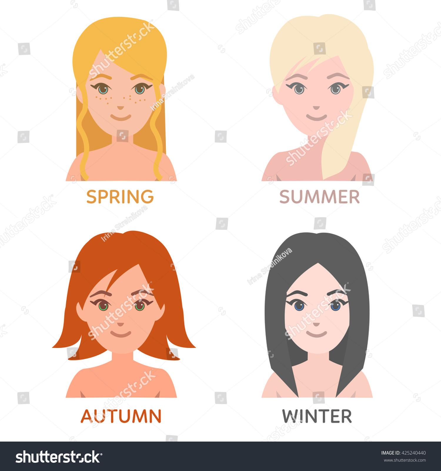 seasonal color types women young women stock vector 425240440
