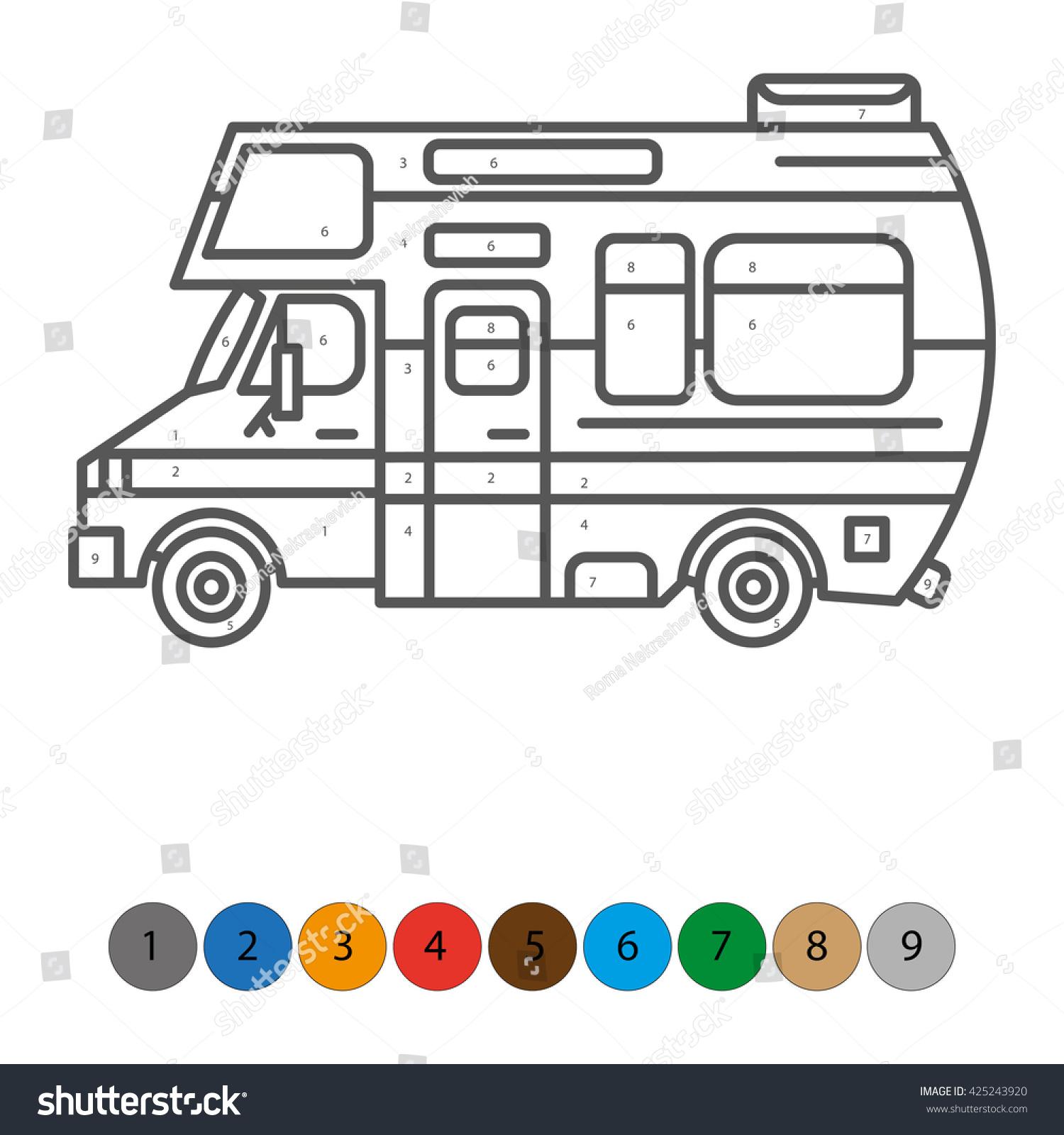 illustration coloring book kids truck transportation stock vector