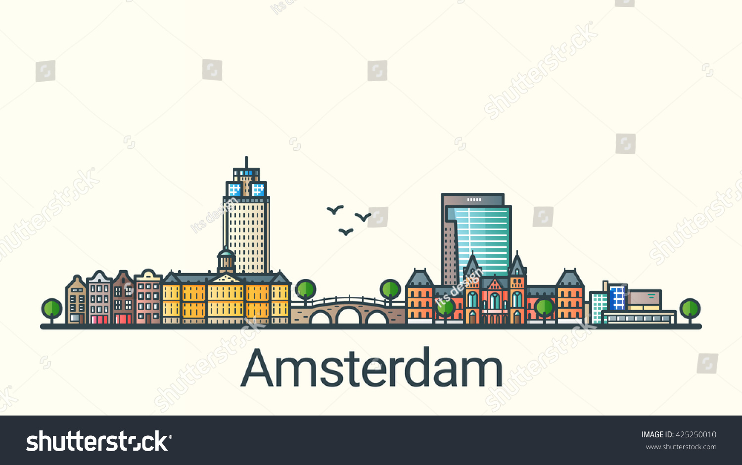Banner of Amsterdam city in flat line trendy style Amsterdam city line art All buildings separated and customizable