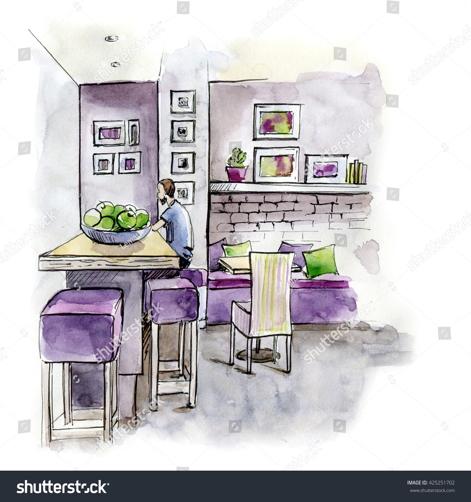 watercolor cafe interior sketch can be stock illustration