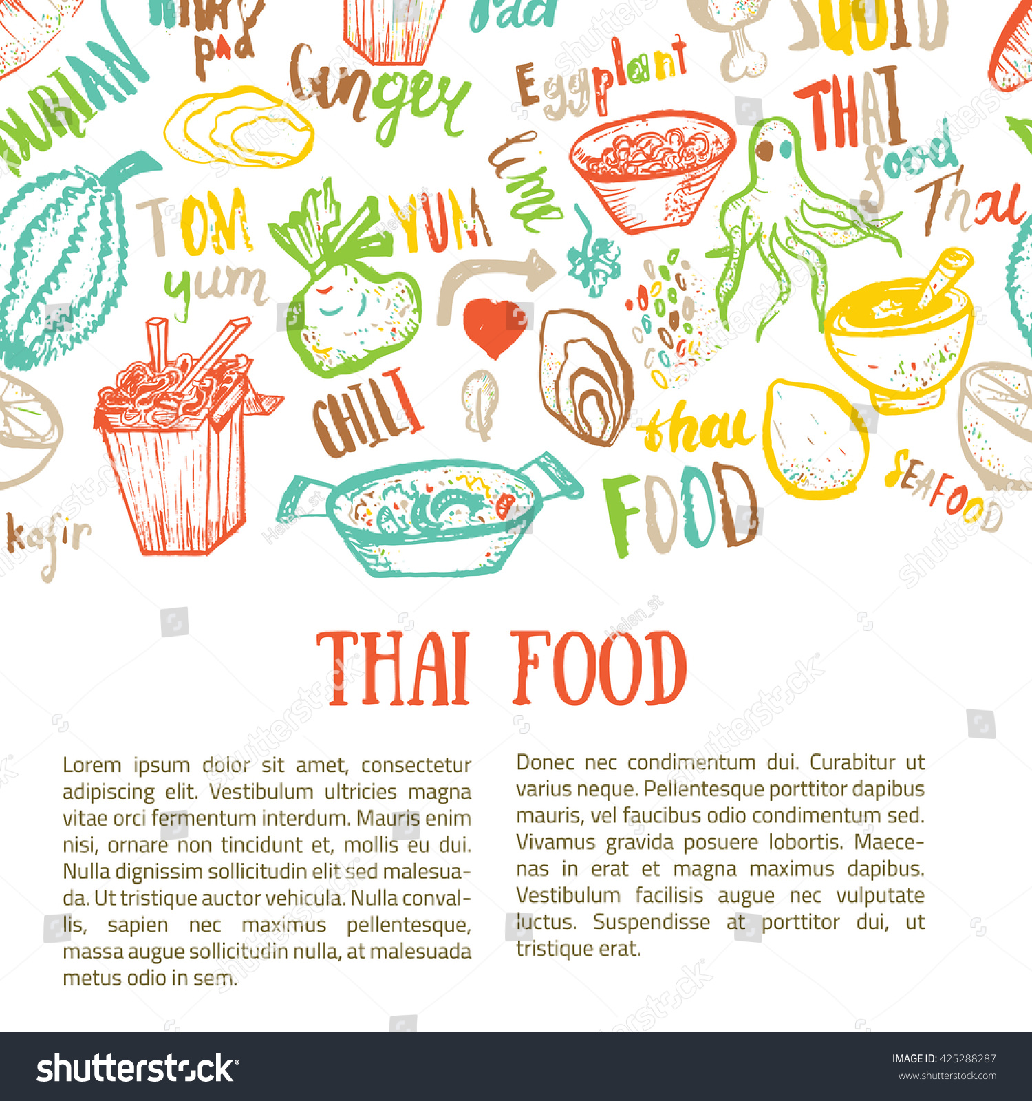 Thai food hand drawn banner template stock vector for Cuisine font