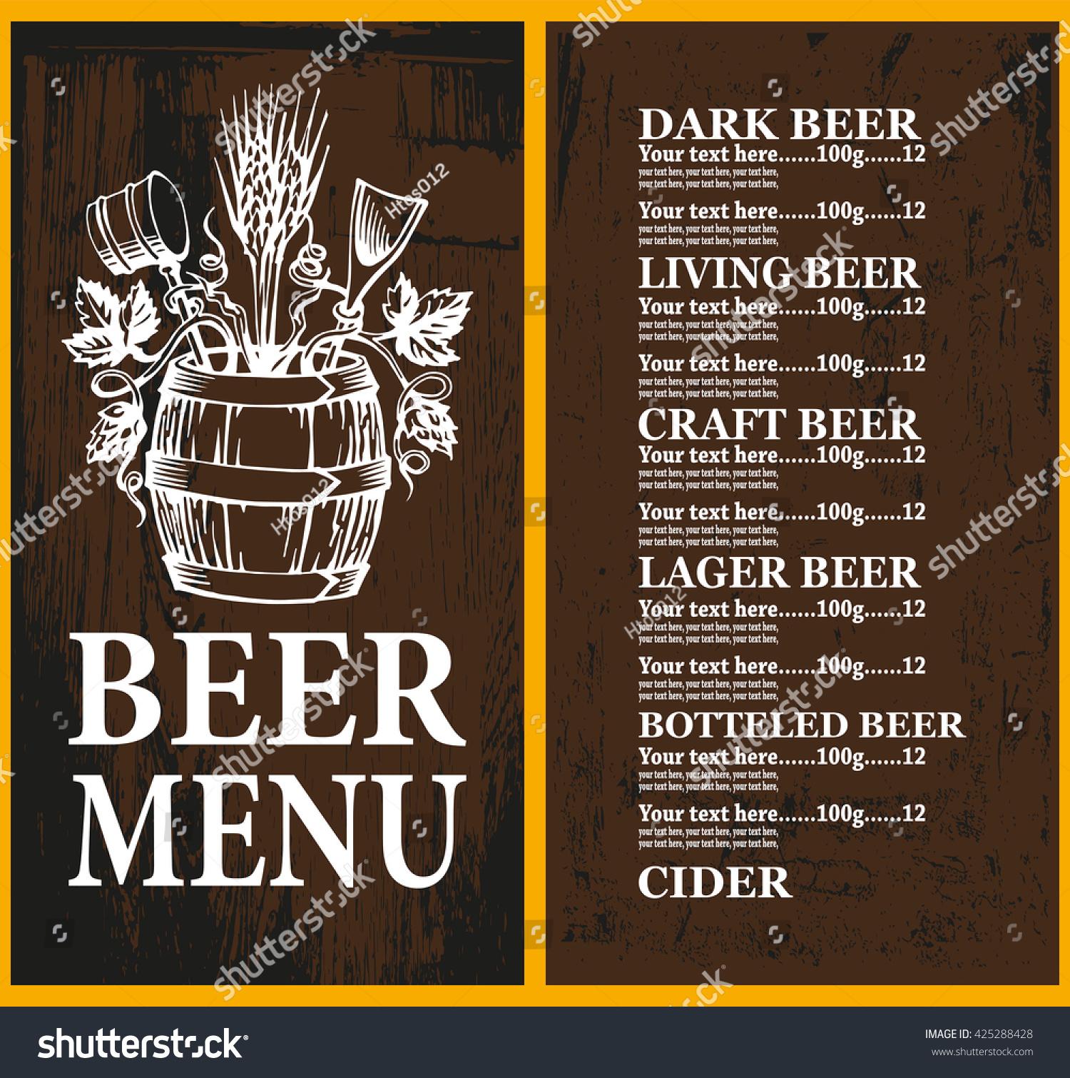 Beer Menu On Wood Background Beer Stock Vector Royalty Free