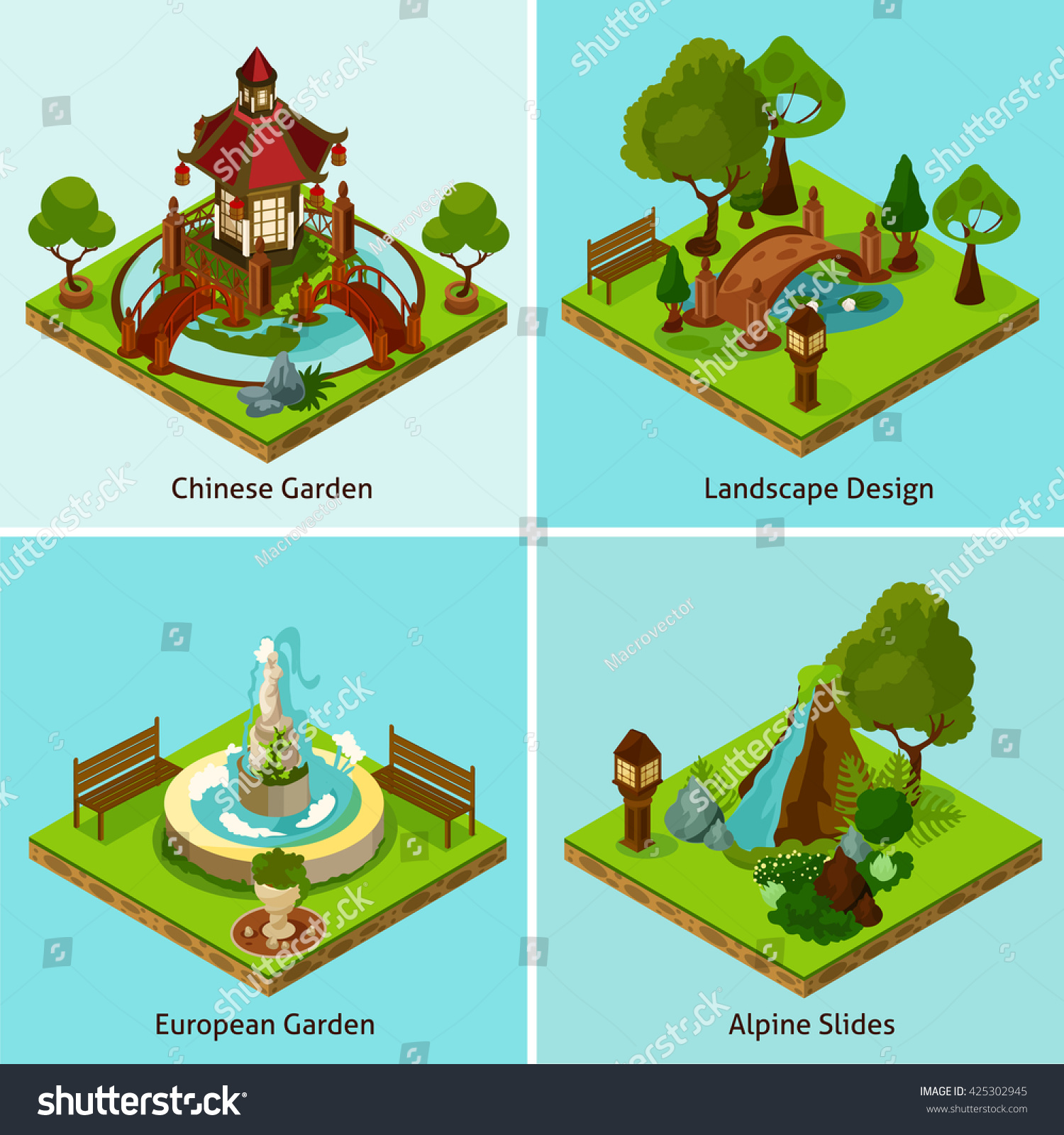 Isometric 2x2 Chinese Garden European Garden And Alpine Slides Landscape  Design Concept Isometric Isolated Vector Illustration