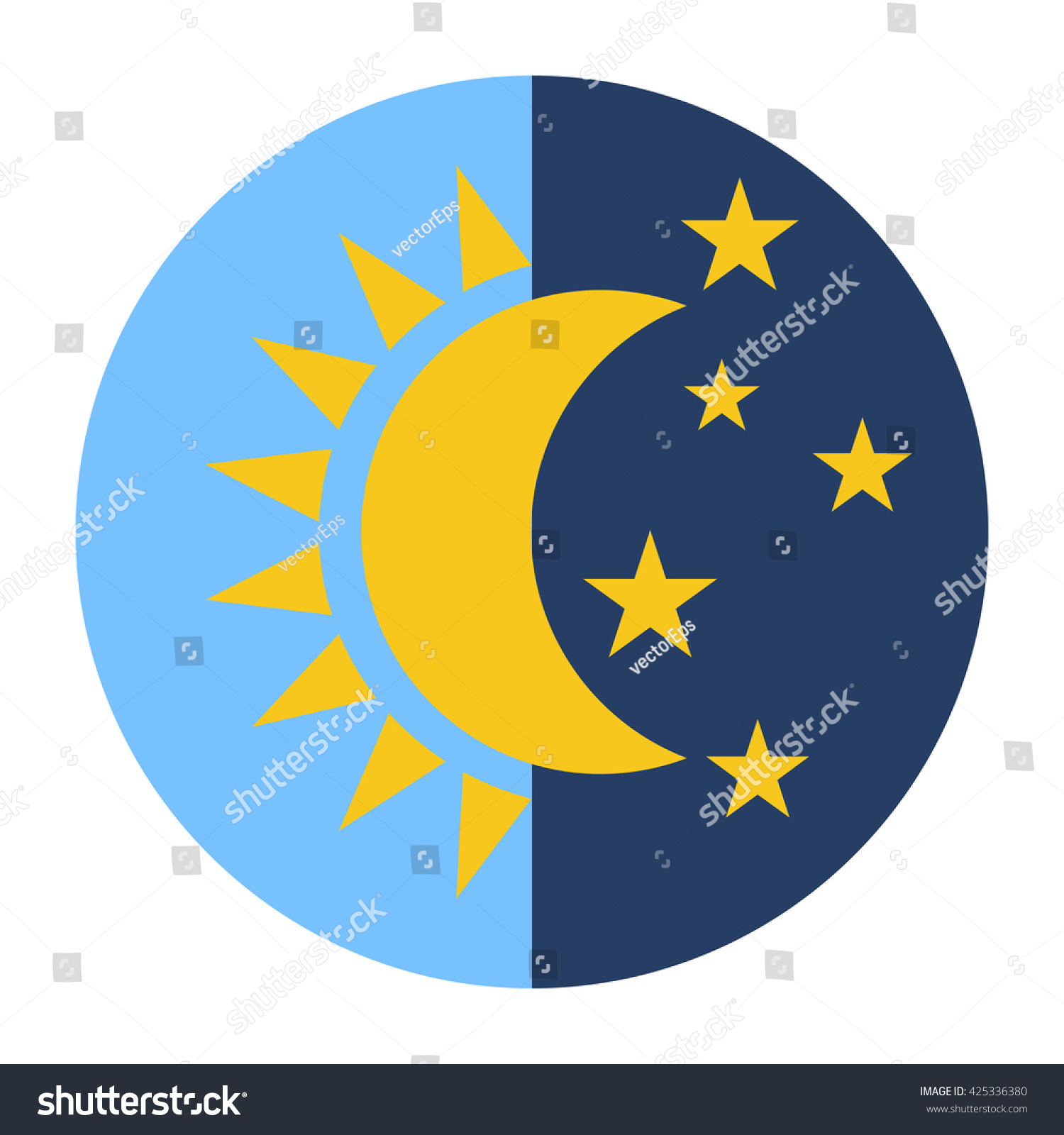 Day Night Icon Sun Moon Vector Stock Vector 425336380 ...