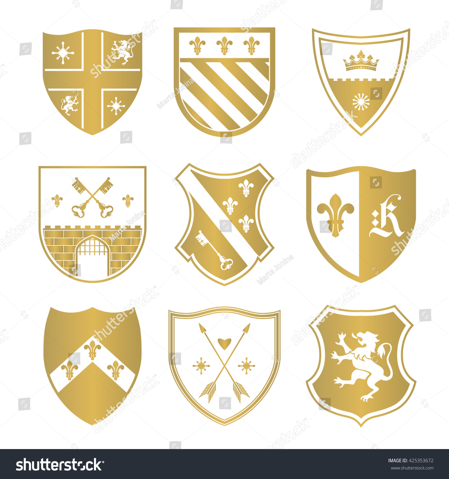 Coat Arms Silhouettes Signs Symbols Safety Stock Vector Royalty
